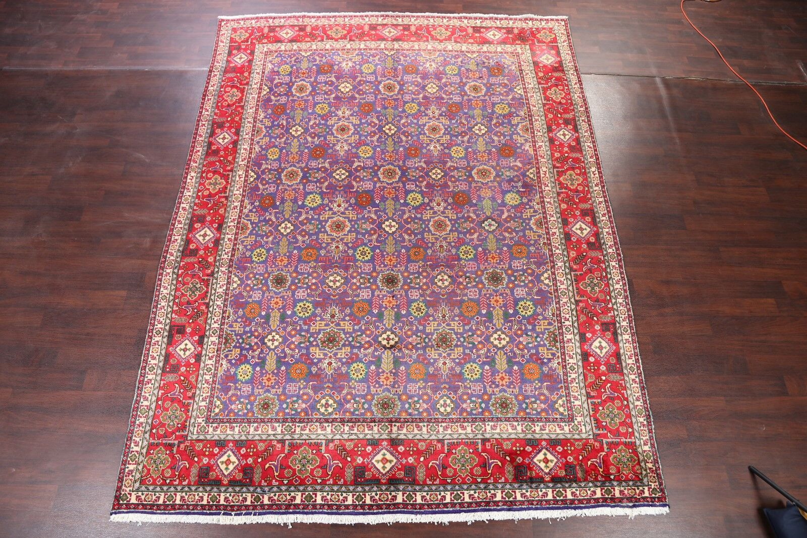 One-of-a-Kind All Over Tabriz Vintage Persian Hand-Knotted 9'5
