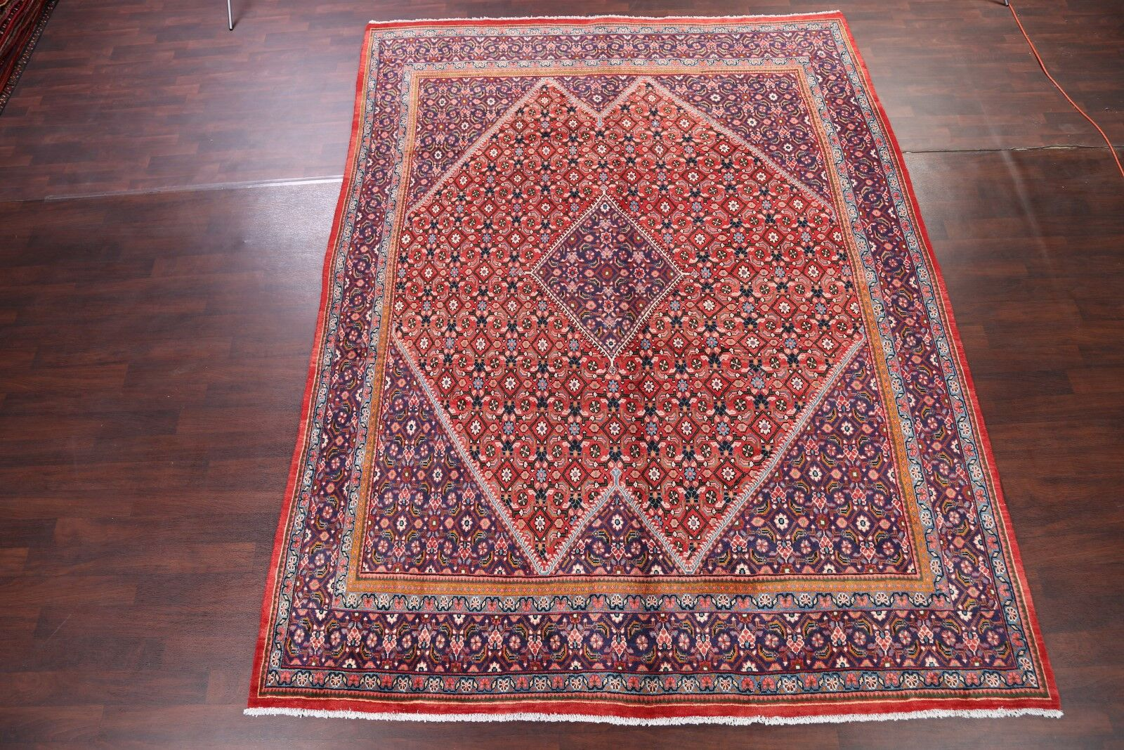 One-of-a-Kind Geometric Mahal Sarouk Vintage Persian Hand-Knotted 9'9