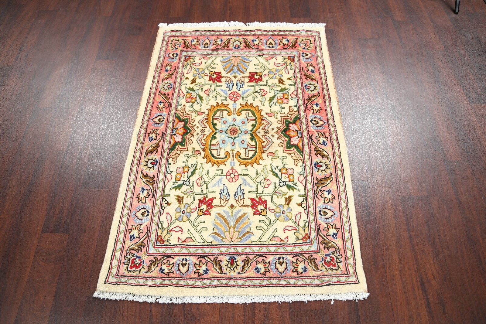 One-of-a-Kind Floral Mahal Sarouk Persian Hand-Knotted 3'3