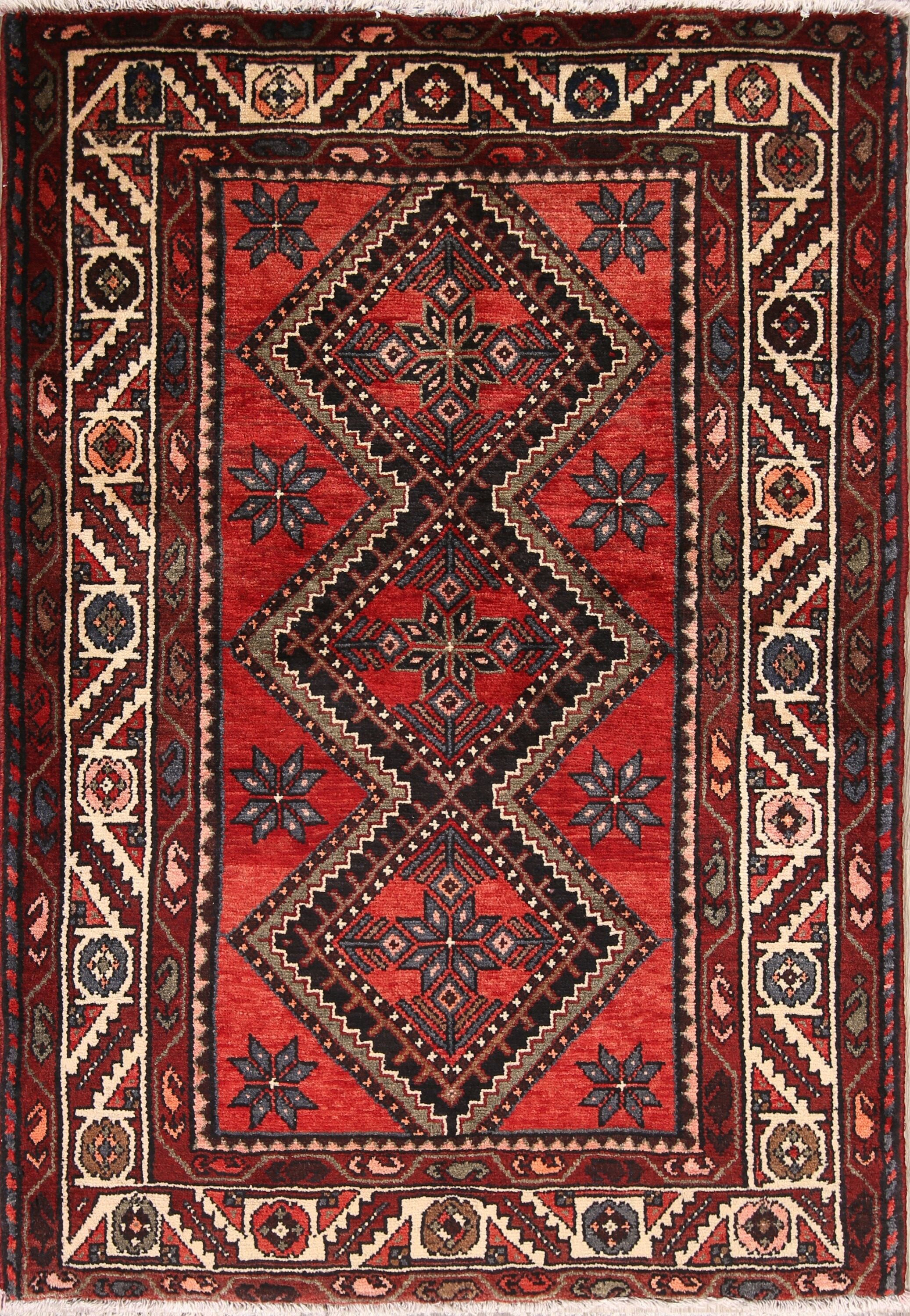 One-of-a-Kind Geometric Bakhtiari Persian Hand-Knotted 3'8