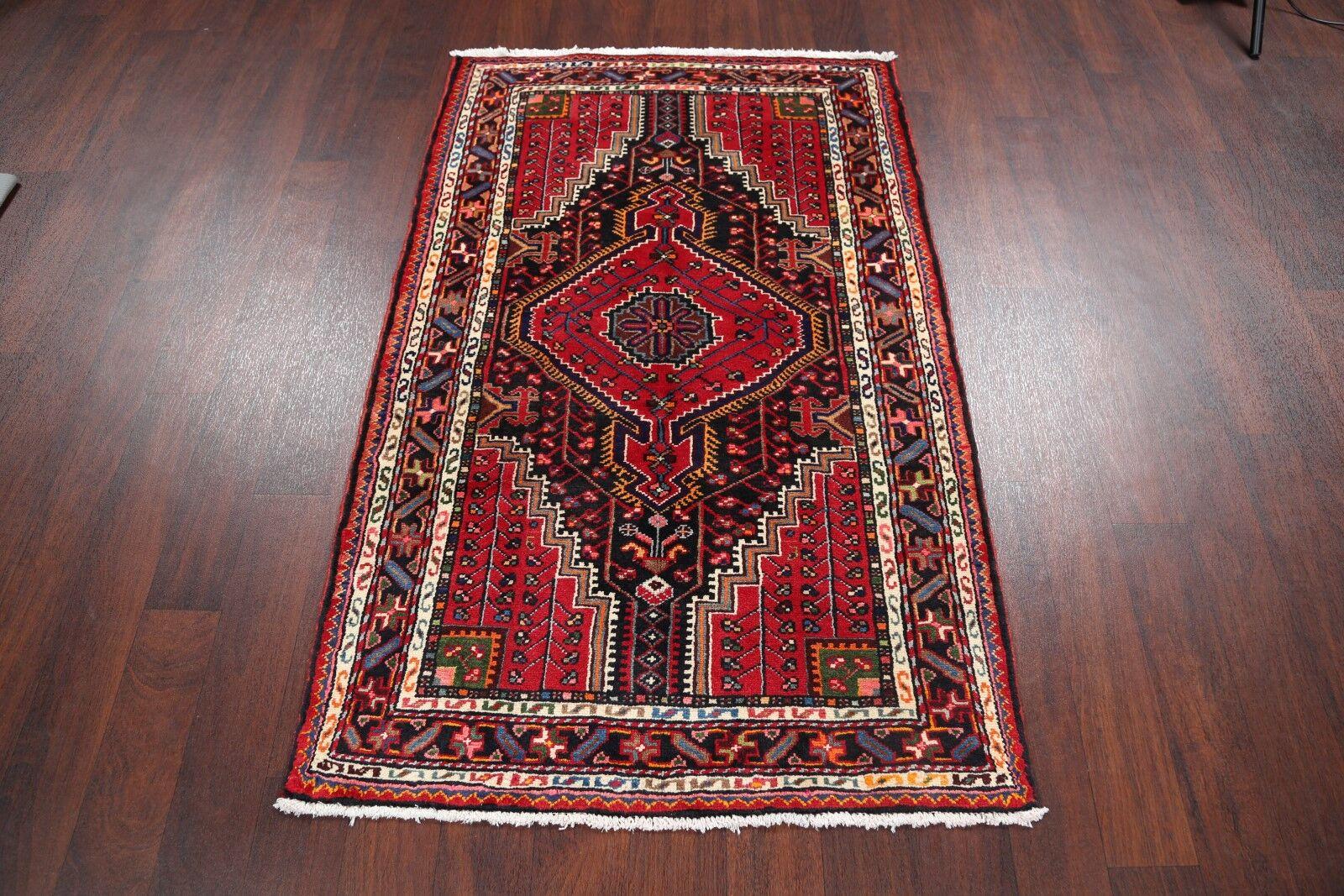 One-of-a-Kind Geometric Tribal Zanjan Persian Hand-Knotted 3'4