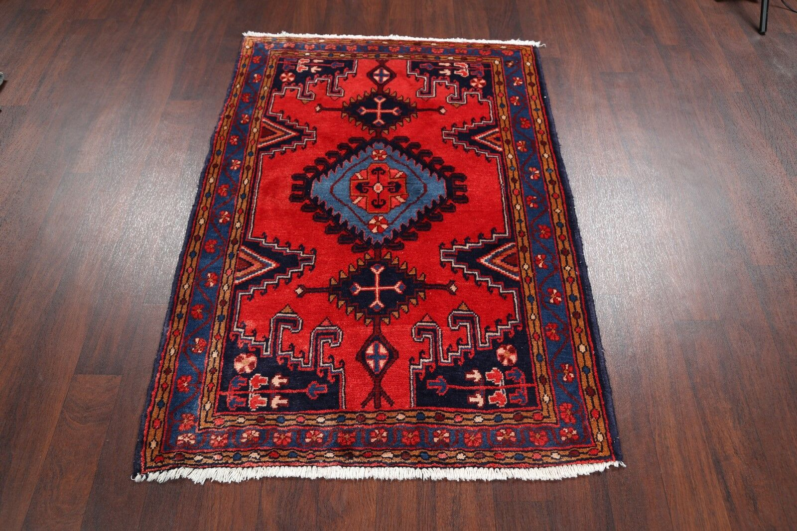 One-of-a-Kind Eatmon Geometric Tribal Viss Mahal Persian Hand-Knotted 3'8