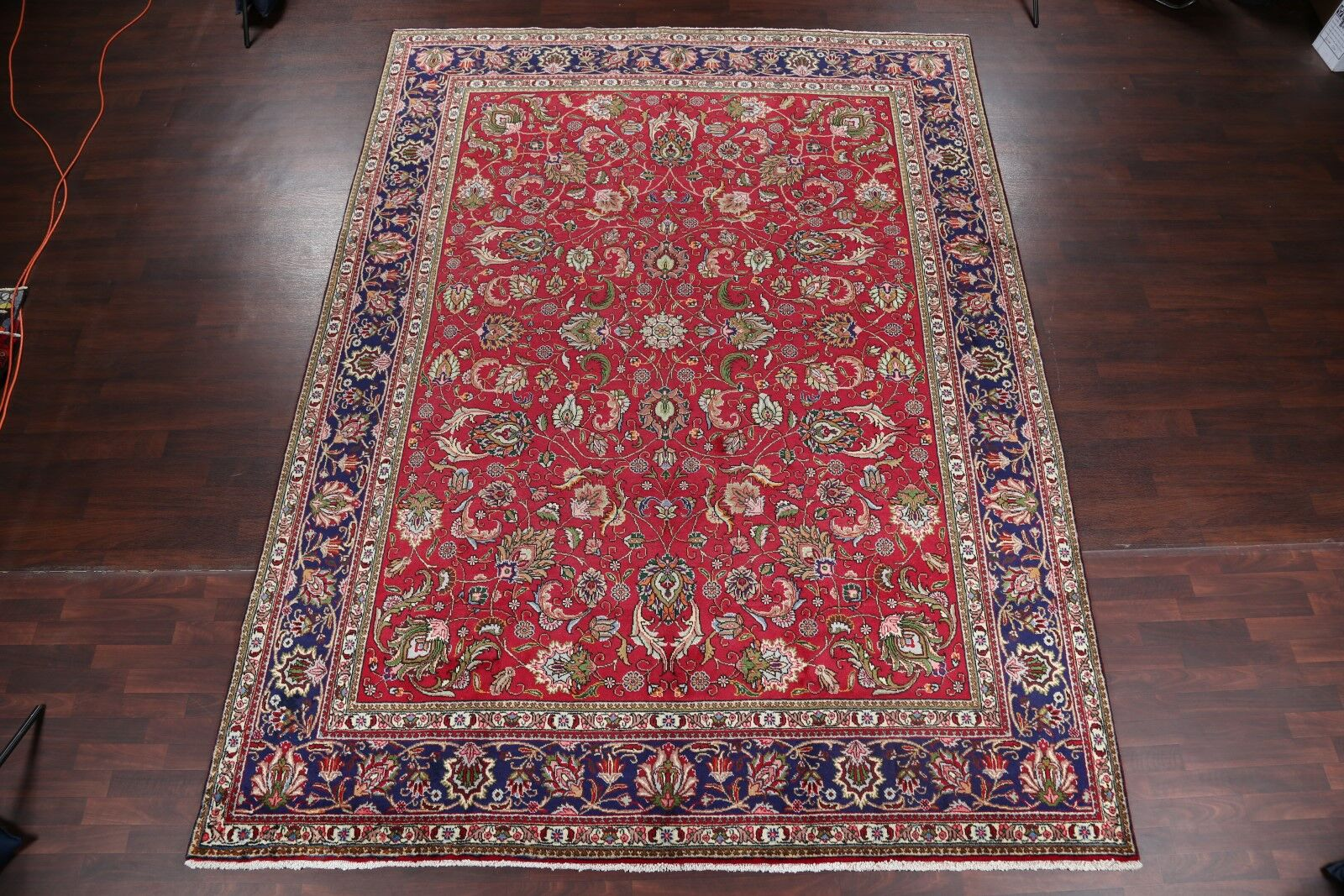 One-of-a-Kind Flatt All Over Floral Tabriz Vintage Persian Hand-Knotted 9'8