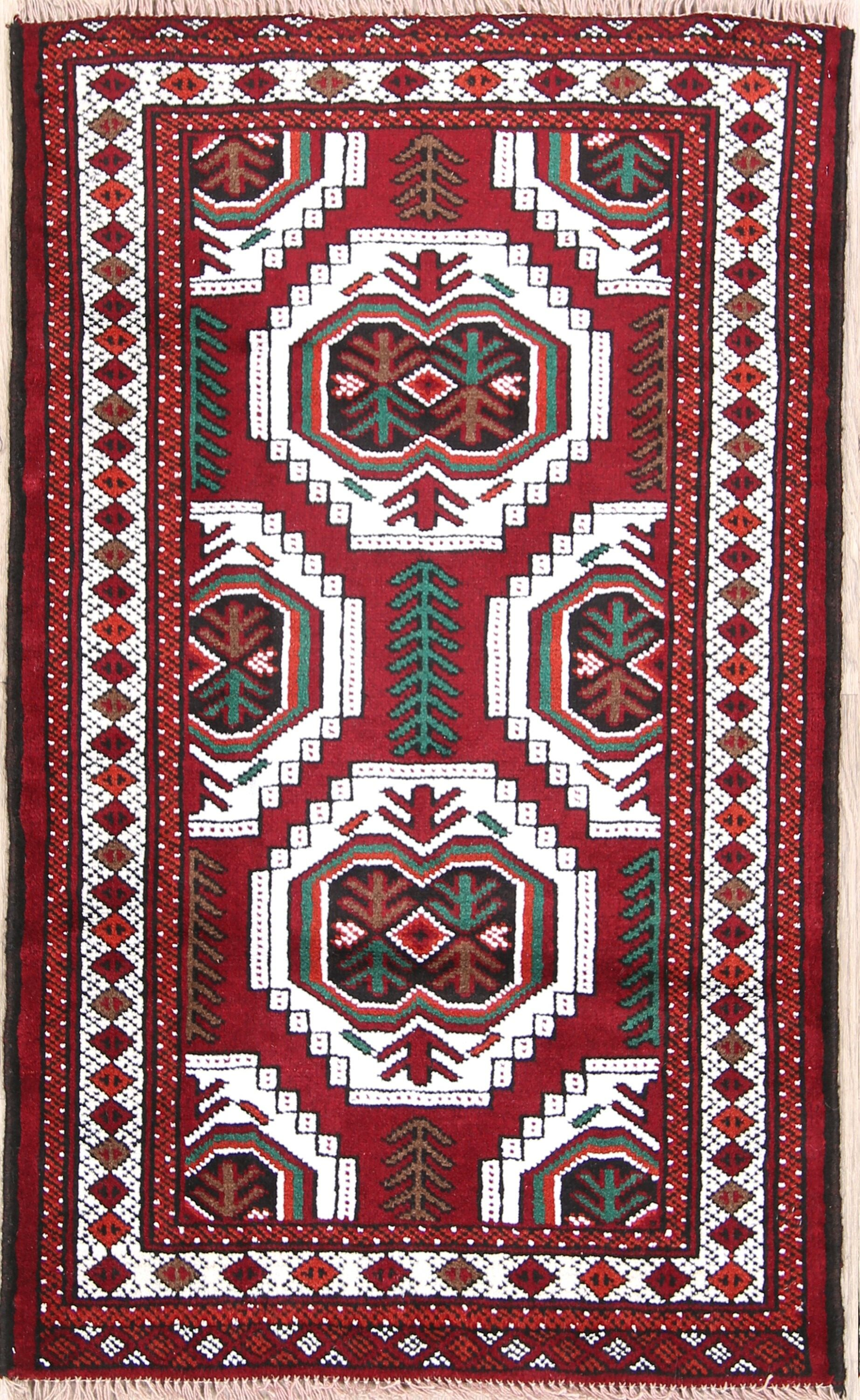 One-of-a-Kind Fleisher Geometric Tribal Balouch Turkoman Persian Hand-Knotted 2'8