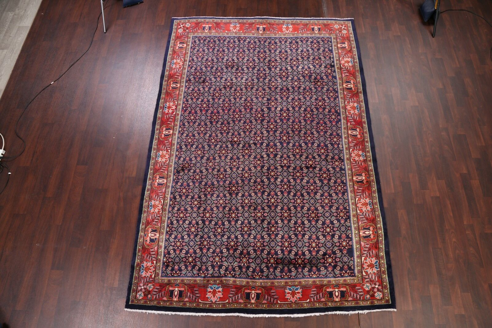 One-of-a-Kind Flick All Over Floral Mahal Sarouk Persian Hand-Knotted 7'2
