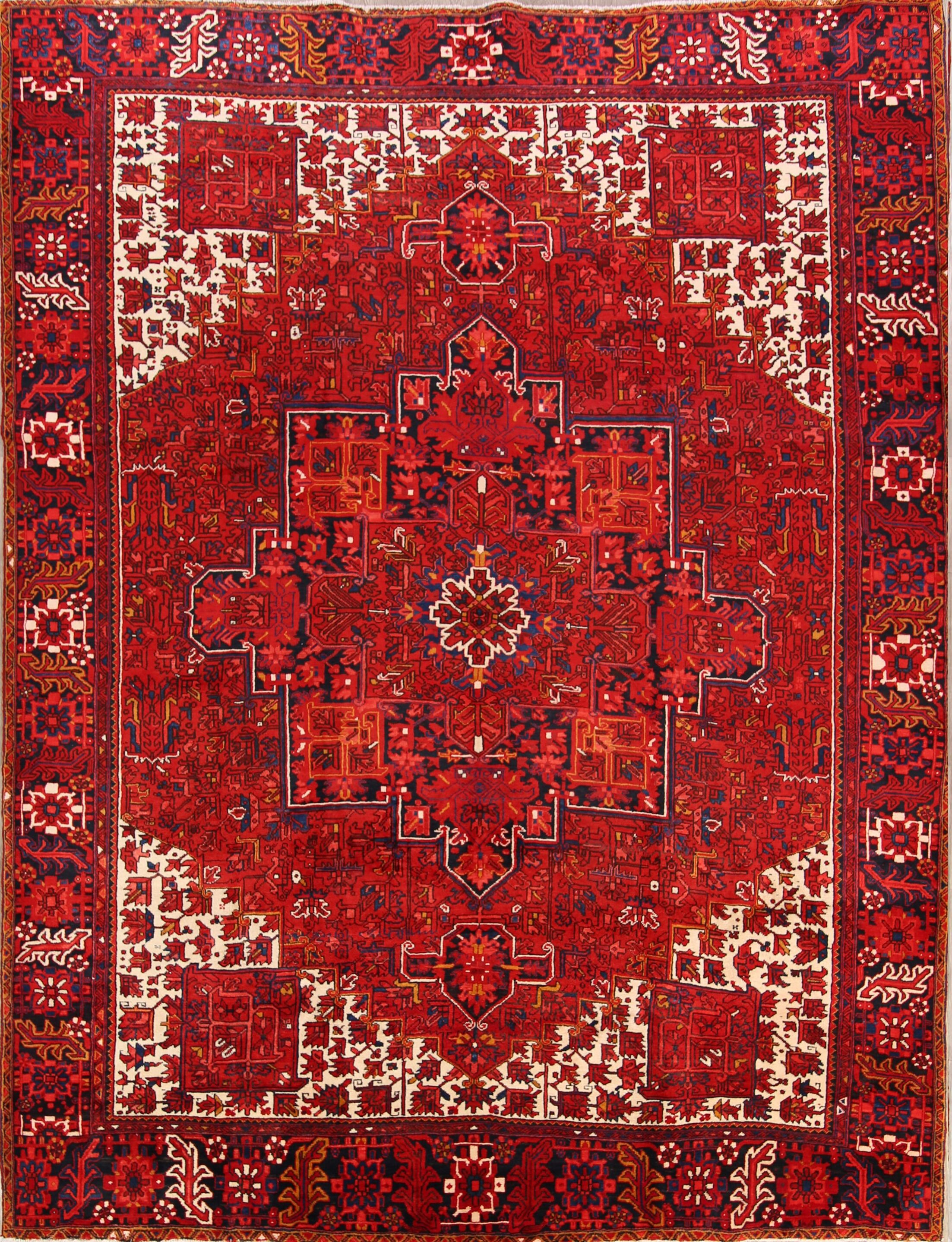 One-of-a-Kind Gaunt Geometric Heriz Persian Hand-Knotted 10'2