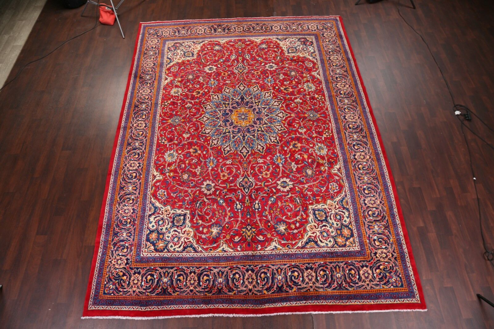 One-of-a-Kind Newson Floral Medallion Sarouk Persian Hand-Knotted 9'9