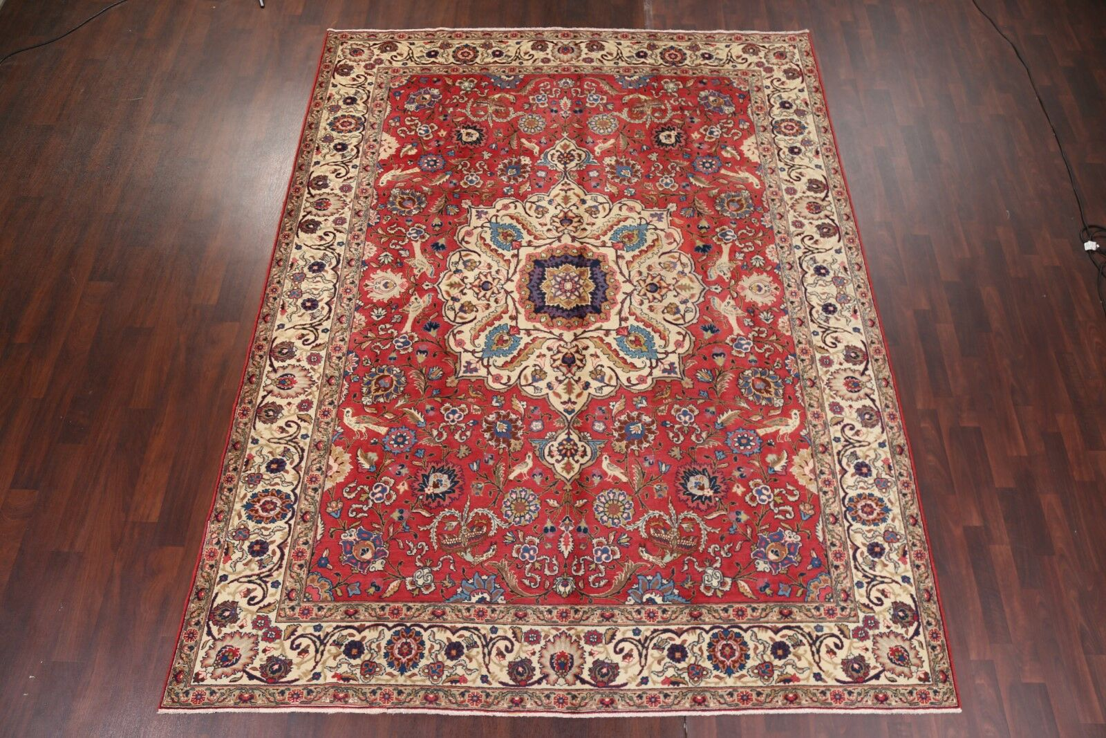 One-of-a-Kind Geer Geometric Animal Pictorial Tabriz Vintage Persian Hand-Knotted 8'11