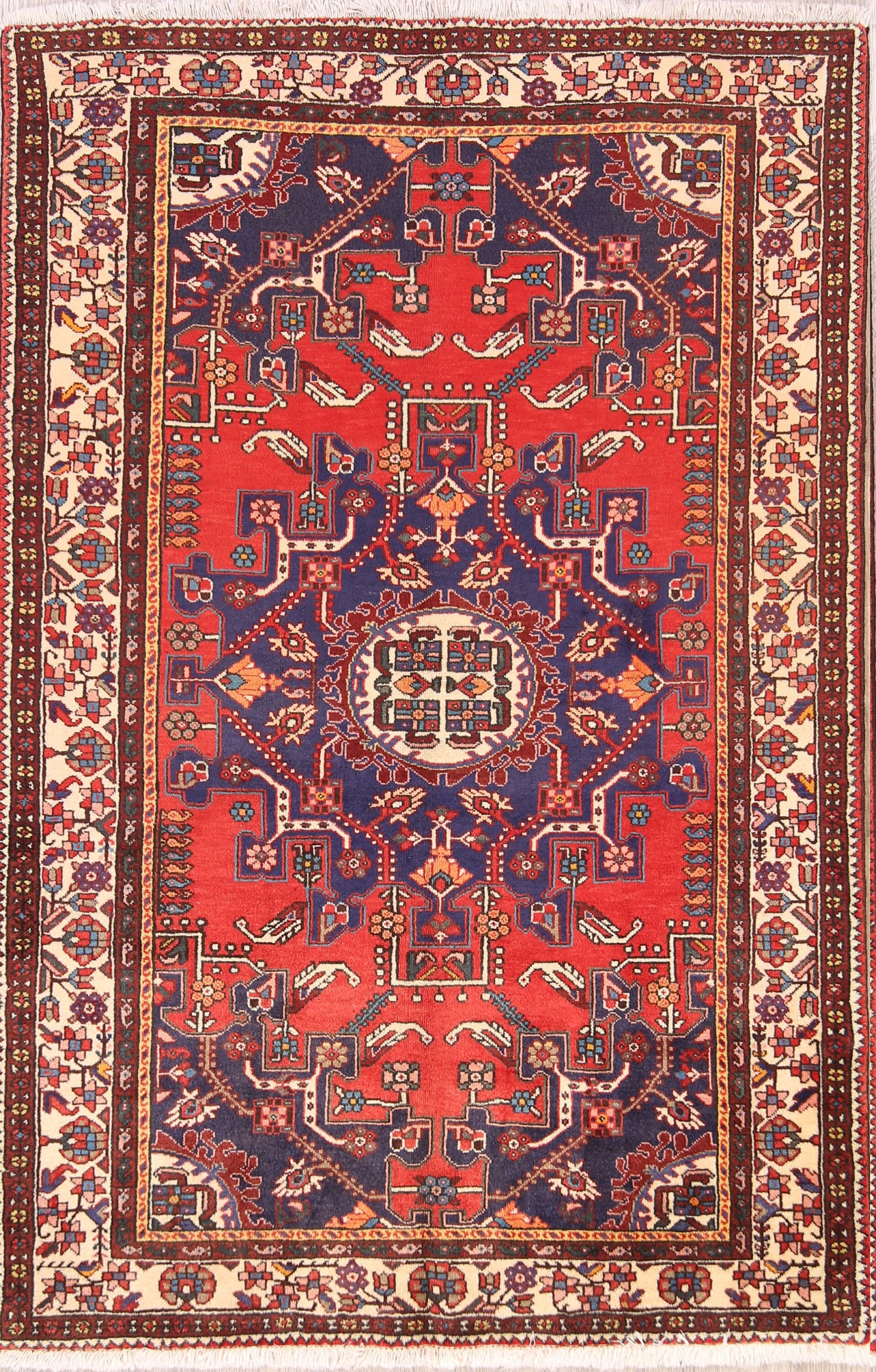 One-of-a-Kind Geometric Malayer Hamedan Vintage Persian Hand-Knotted 4'4