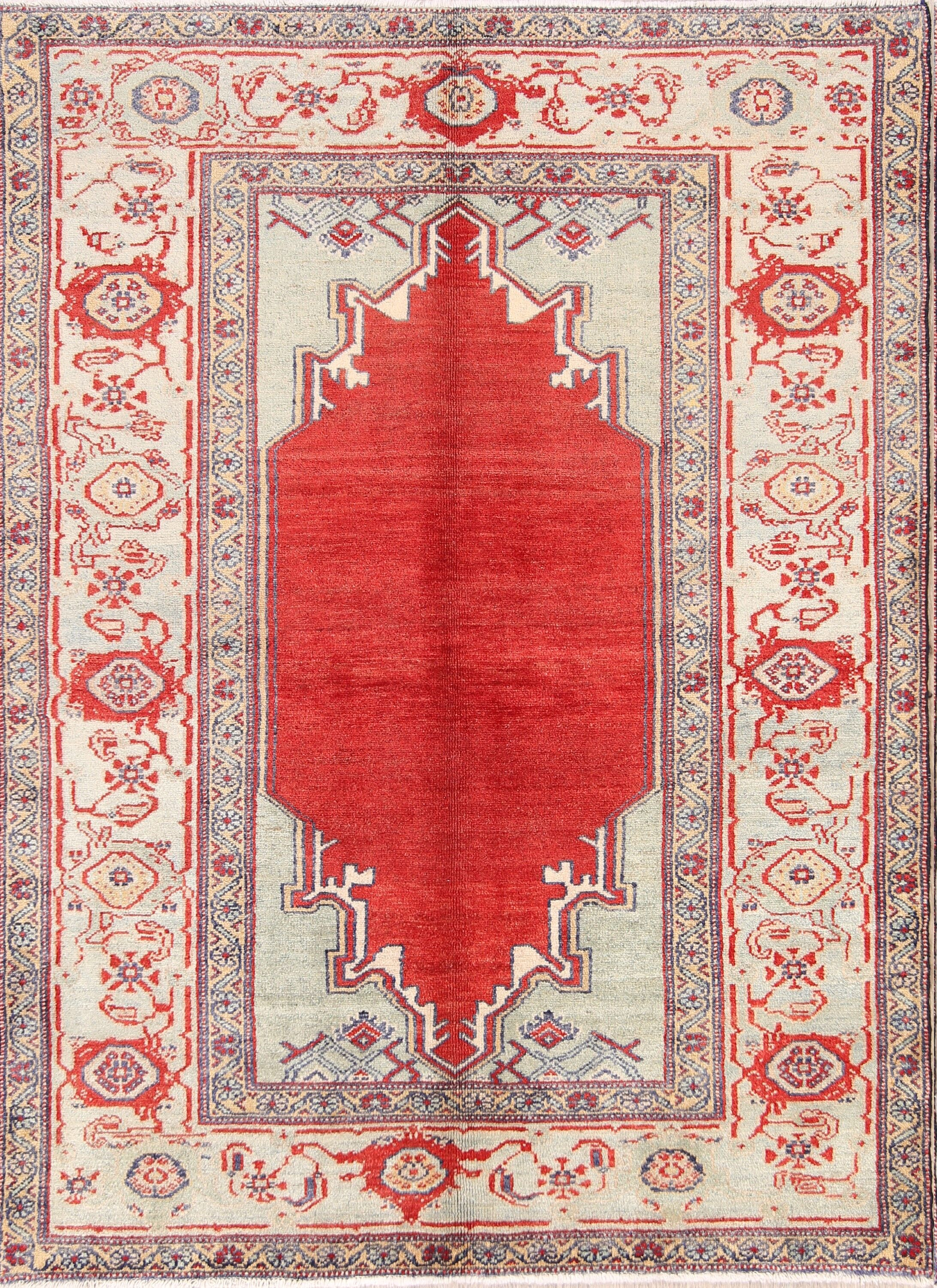 One-of-a-Kind Geometric Sultanabad Oushak Persian Hand-Knotted 4'10