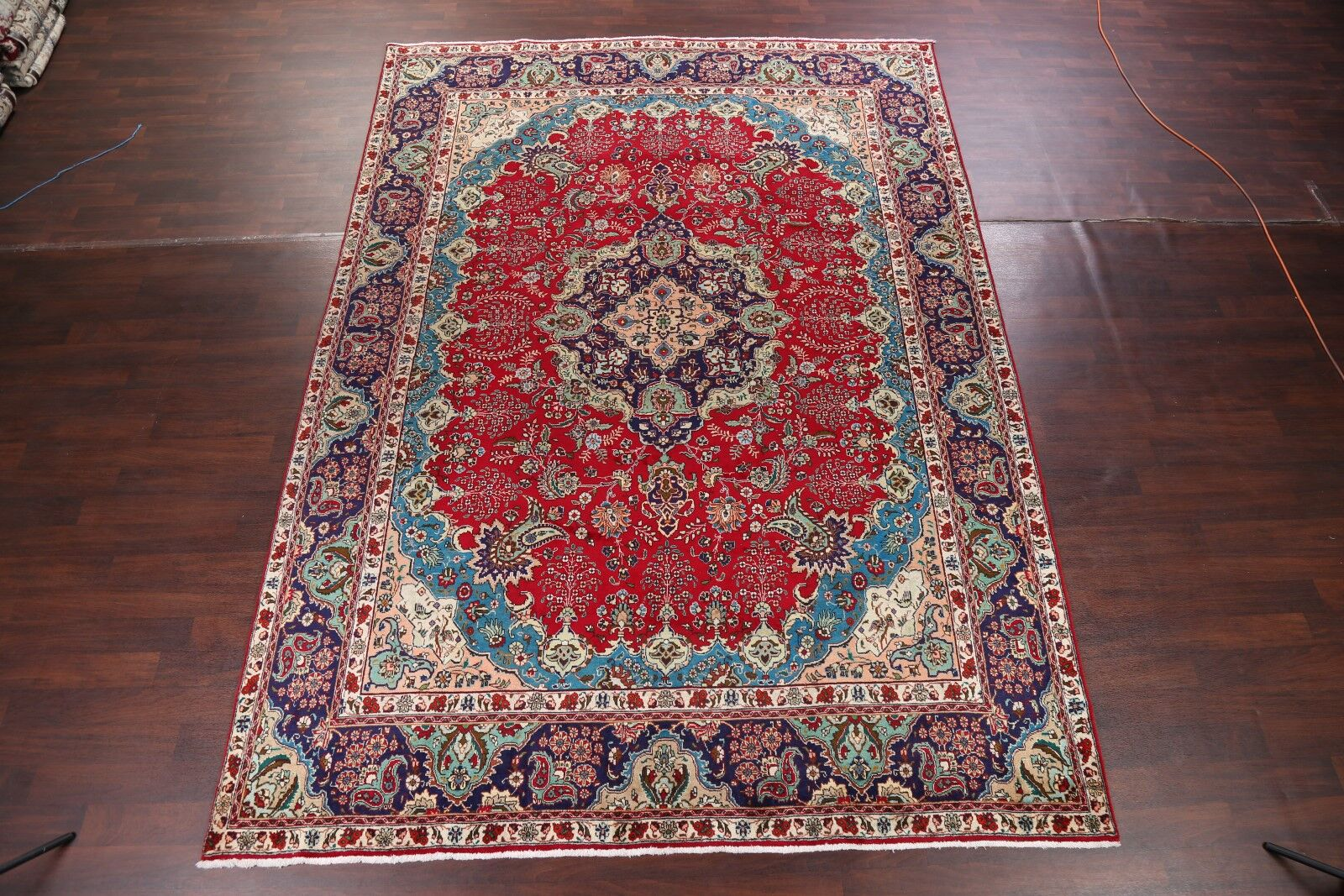 One-of-a-Kind Geometric Tabriz Vintage Persian Hand-Knotted 9'5