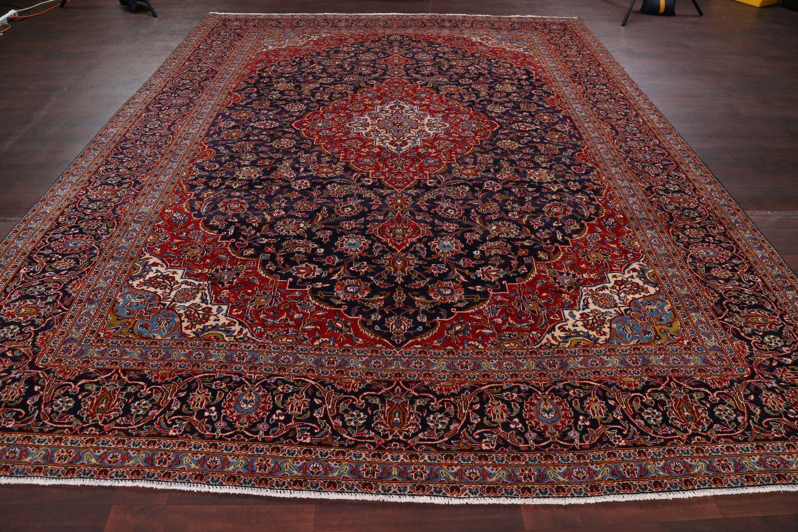 One-of-a-Kind Floral Kashmar Vintage Persian Hand-Knotted 9'11