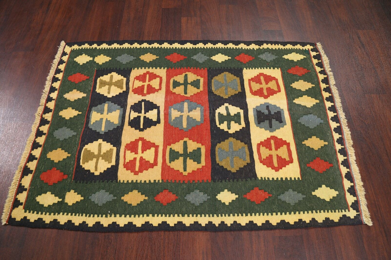One-of-a-Kind Tribal Kilim Shiraz Persian Hand-Knotted 3'6