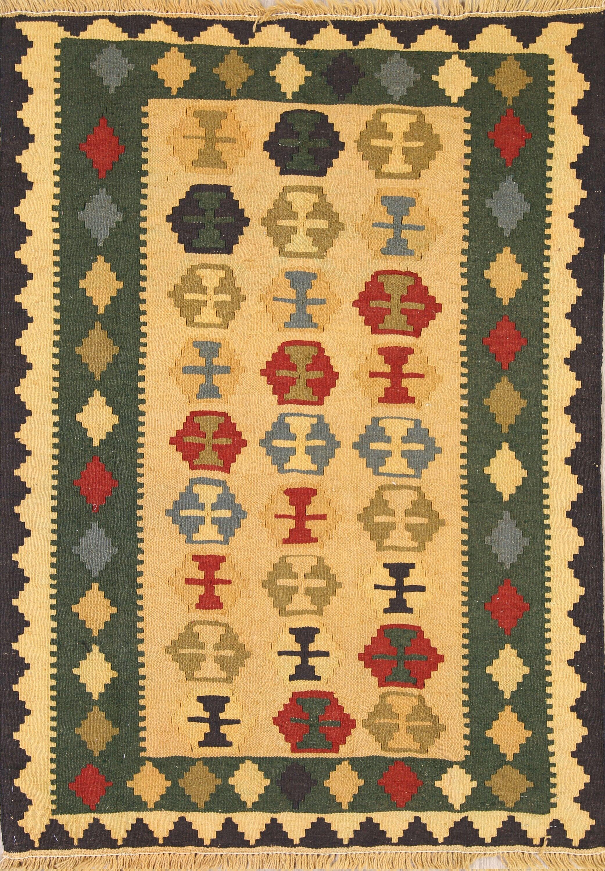 One-of-a-Kind Geometric Kilim Qashqai Persian Hand-Knotted 3'6