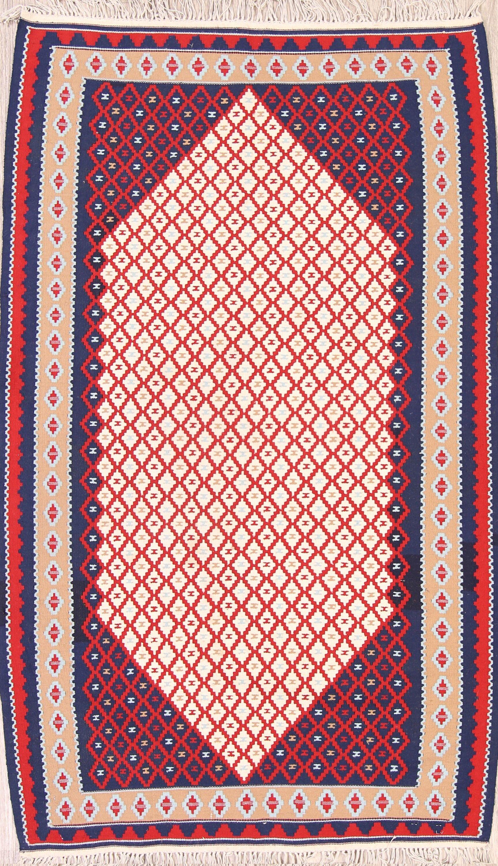 One-of-a-Kind Geometric Tribal Nomad Kilim Sanandaj Persian Hand-Knotted 3'7