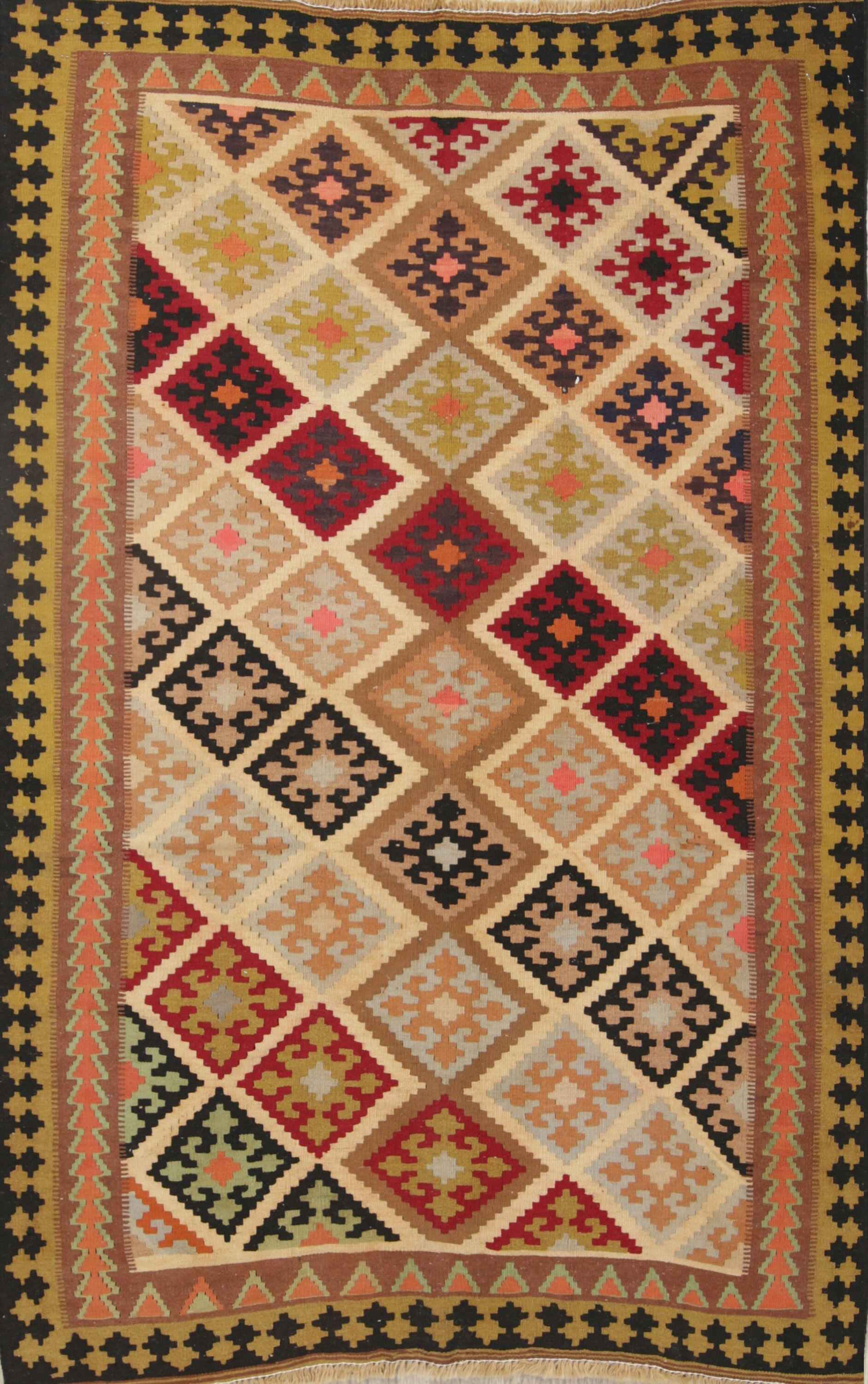 One-of-a-Kind Tribal Kilim Shiraz Persian Hand-Knotted 4'4