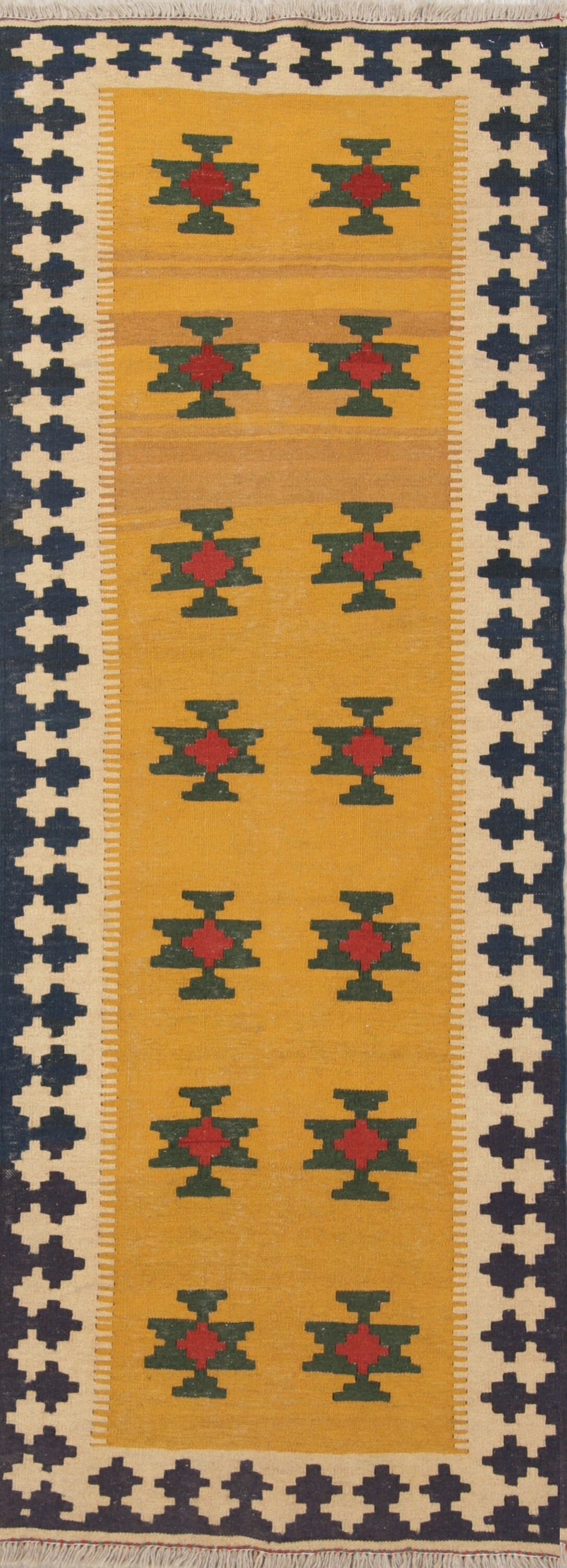 One-of-a-Kind Geometric Tribal Kilim Shiraz Persian Hand-Knotted 2'9