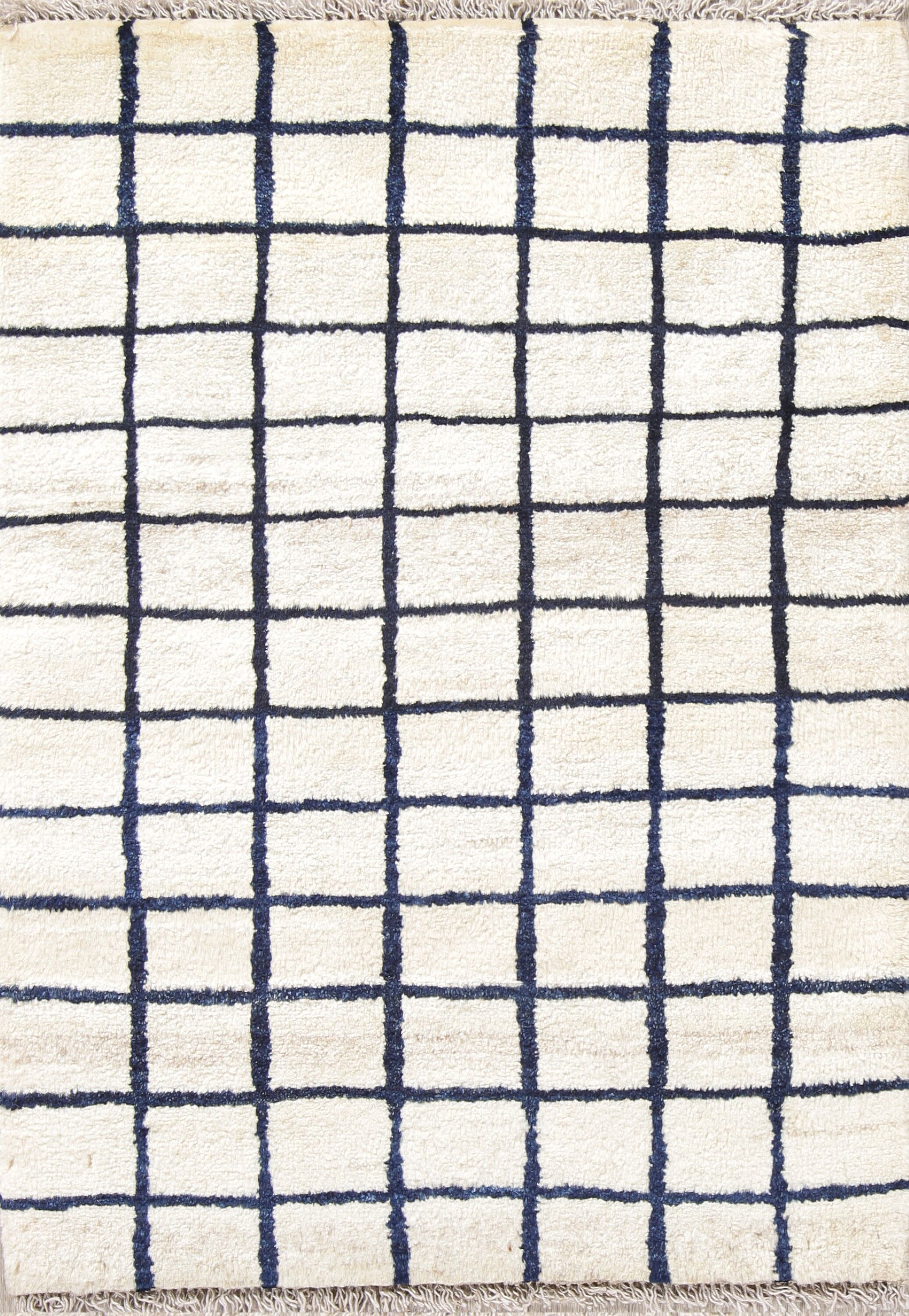 One-of-a-Kind Checked Modern Gabbeh Shiraz Persian Hand-Knotted 2'9