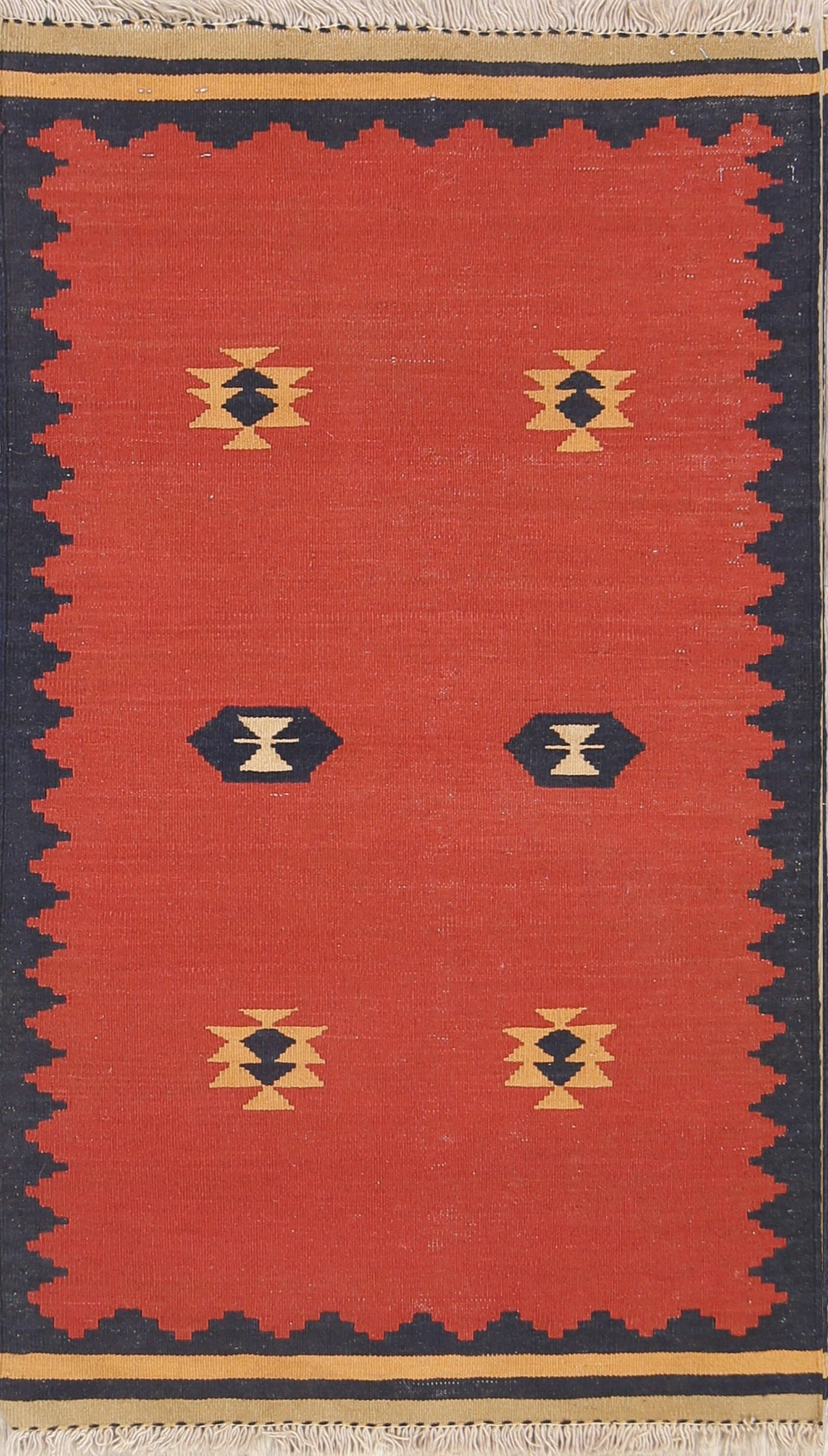 One-of-a-Kind Nomad Tribal Kilim Balouch Sumak Persian Hand-Knotted 2'4