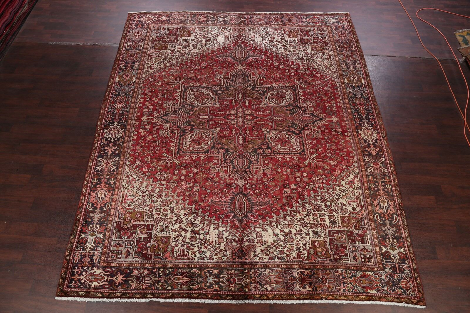 One-of-a-Kind Geometric Heriz Vintage Persian Hand-Knotted 10'4