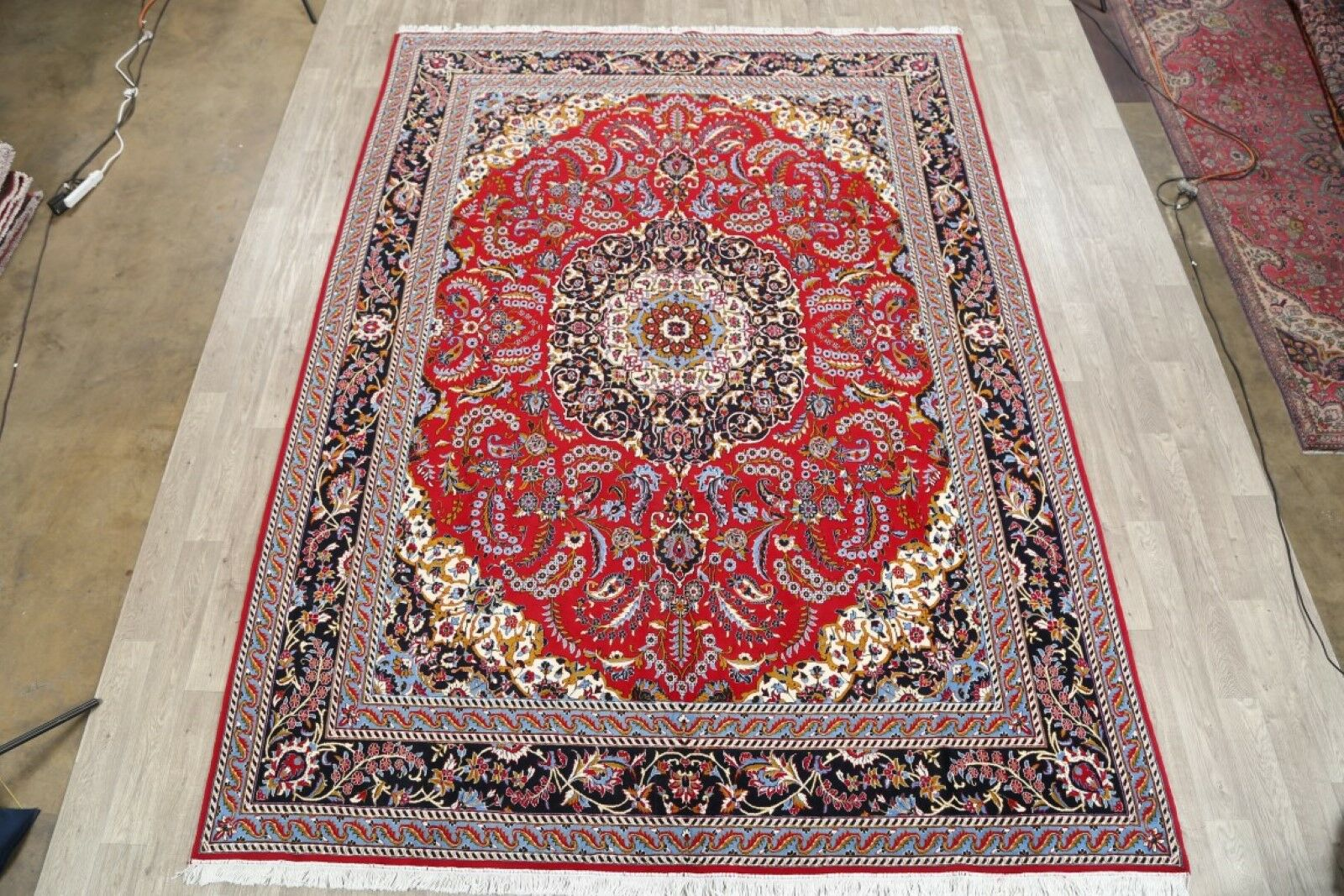 Soft Plush Floral Classical Kashan Persian Red/Ivory/Black Area Rug