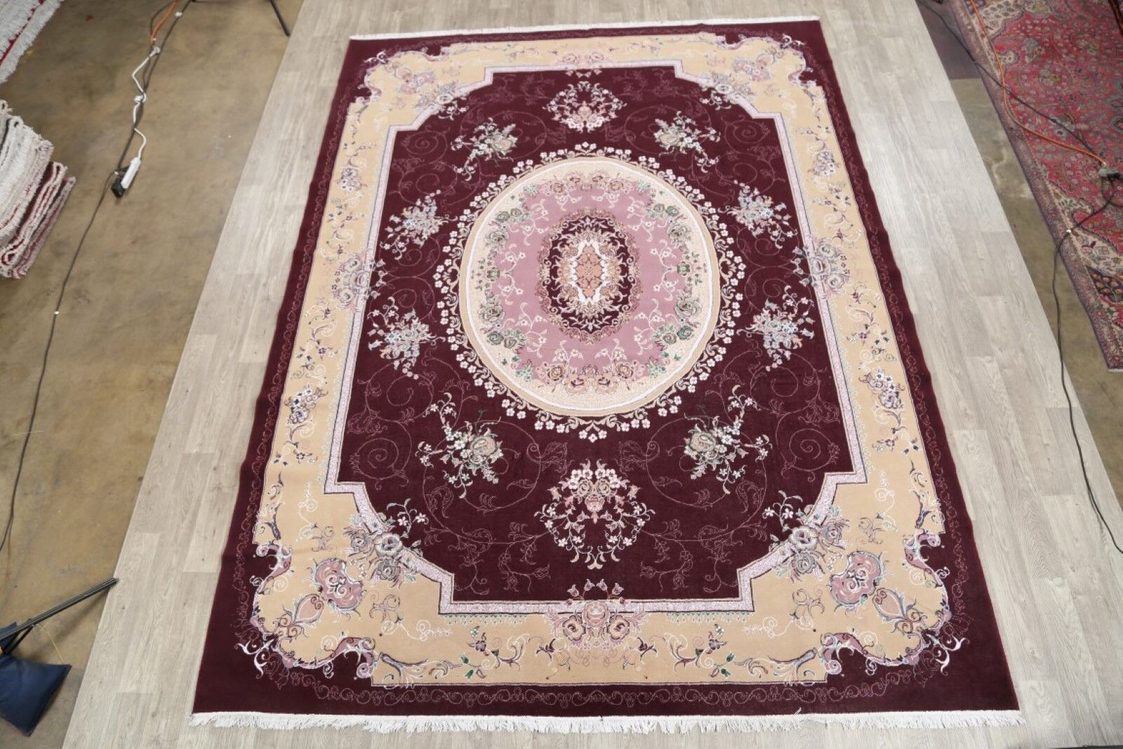 Classical Soft Plush Traditional Floral Tabriz Persian Burgundy/Beige Area Rug