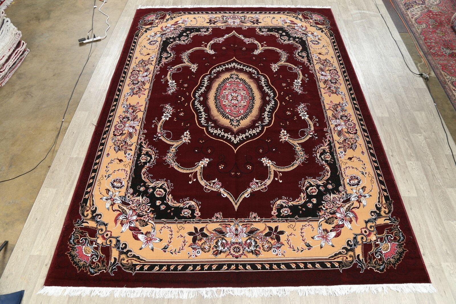 Soft Plush Floral Tabriz Persian Burgundy/Cream Area Rug