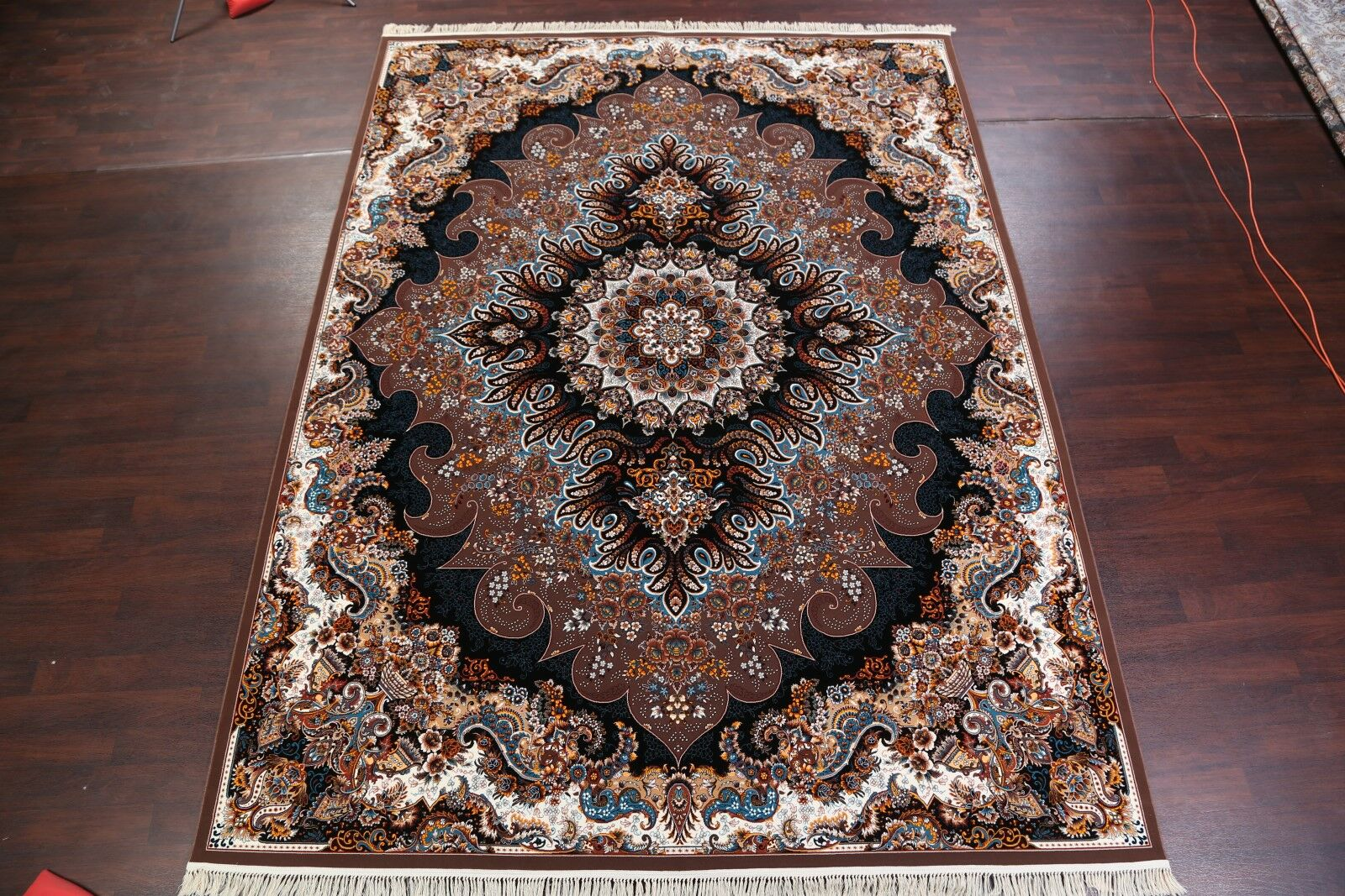 Geometric Soft Tabriz Persian Brown/Blue/Beige Area Rug