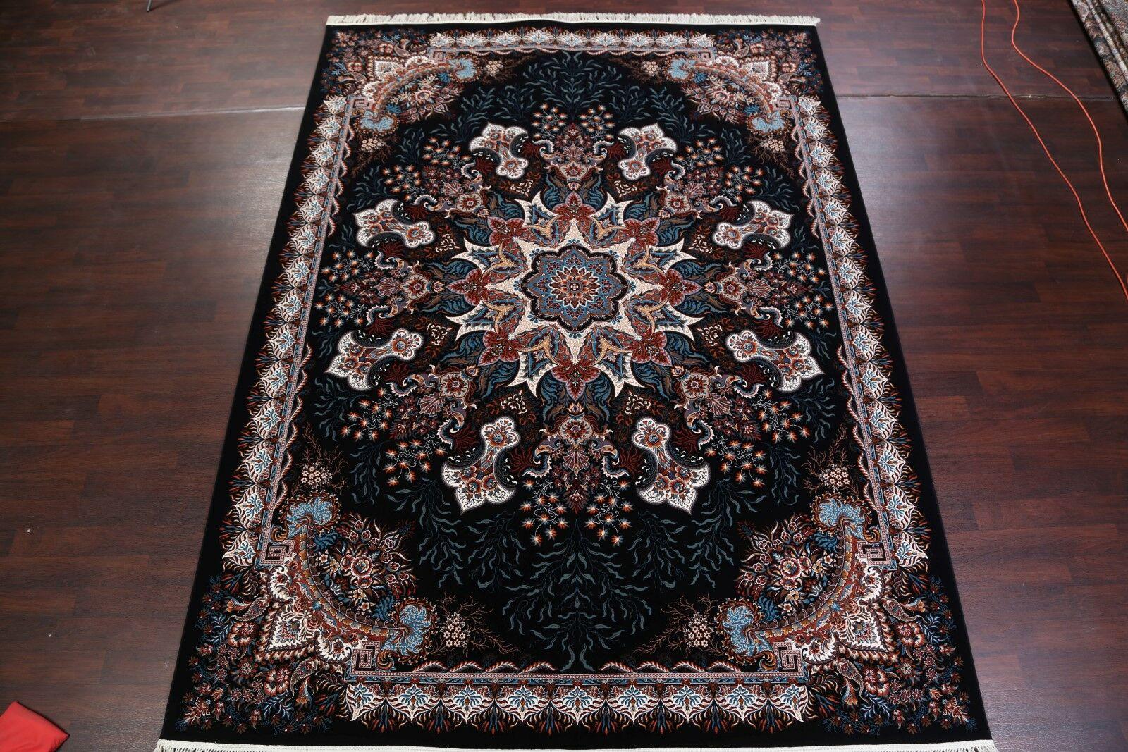 Elegant Medallion Soft Plush Tabriz Traditional Persian Black/Blue Area Rug