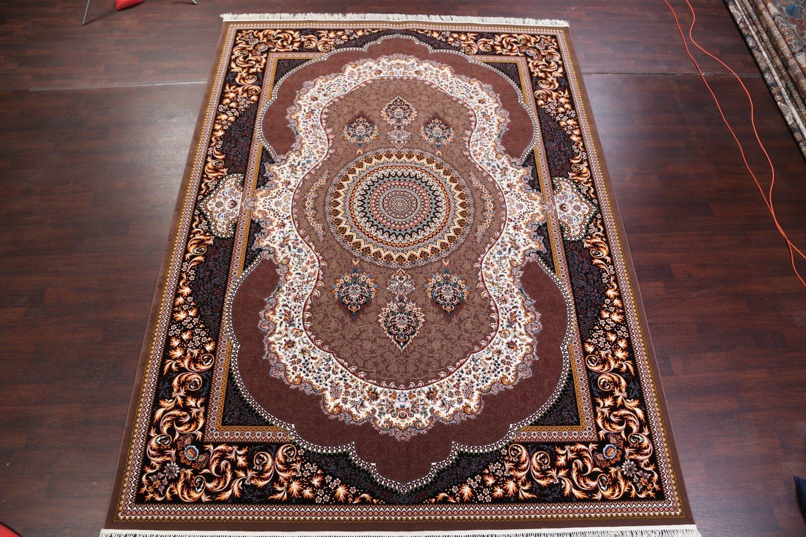 Geometric Soft Plush Classical Tabriz Persian Navy Blue/Brown/Beige Area Rug