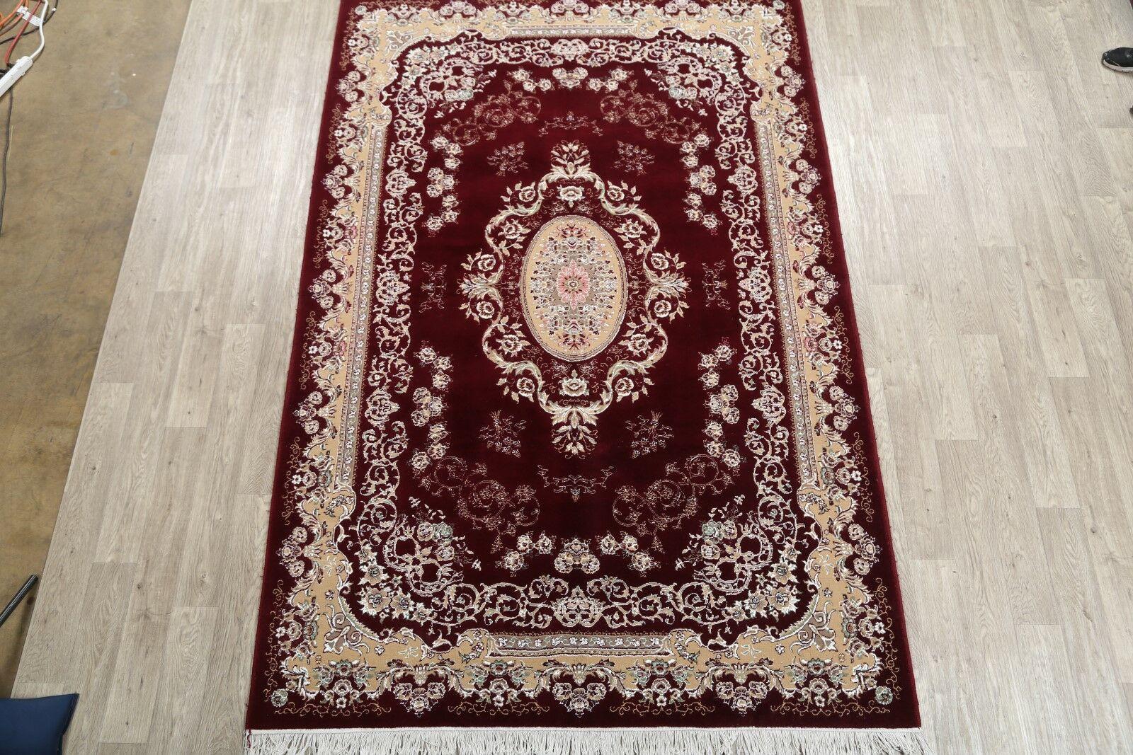 Classical Soft Plush Floral Tabriz Persian Burgundy/Beige Area Rug