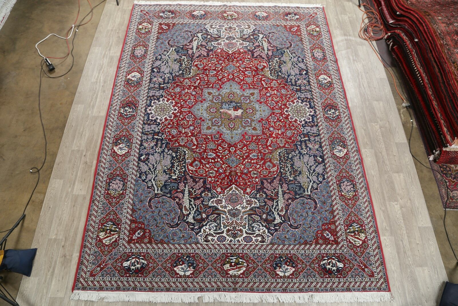 Soft Plush Floral Sarouk Persian Classical Red/Blue Area Rug