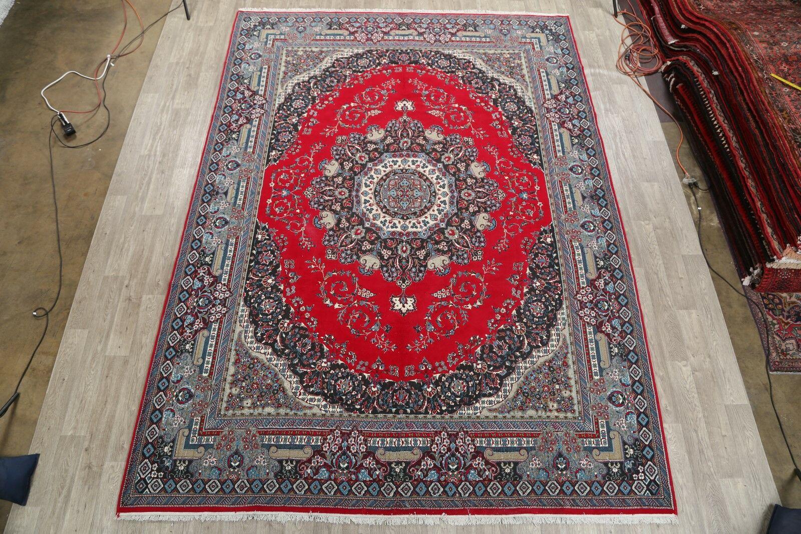 Soft Plush Floral Sarouk Persian Classical Blue/Coral Red/Cream Area Rug