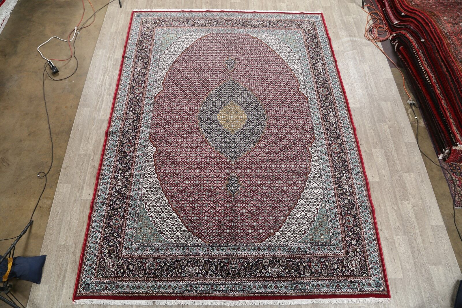 Classical Soft Plush Floral Tabriz Persian Red/Blue/Green Area Rug