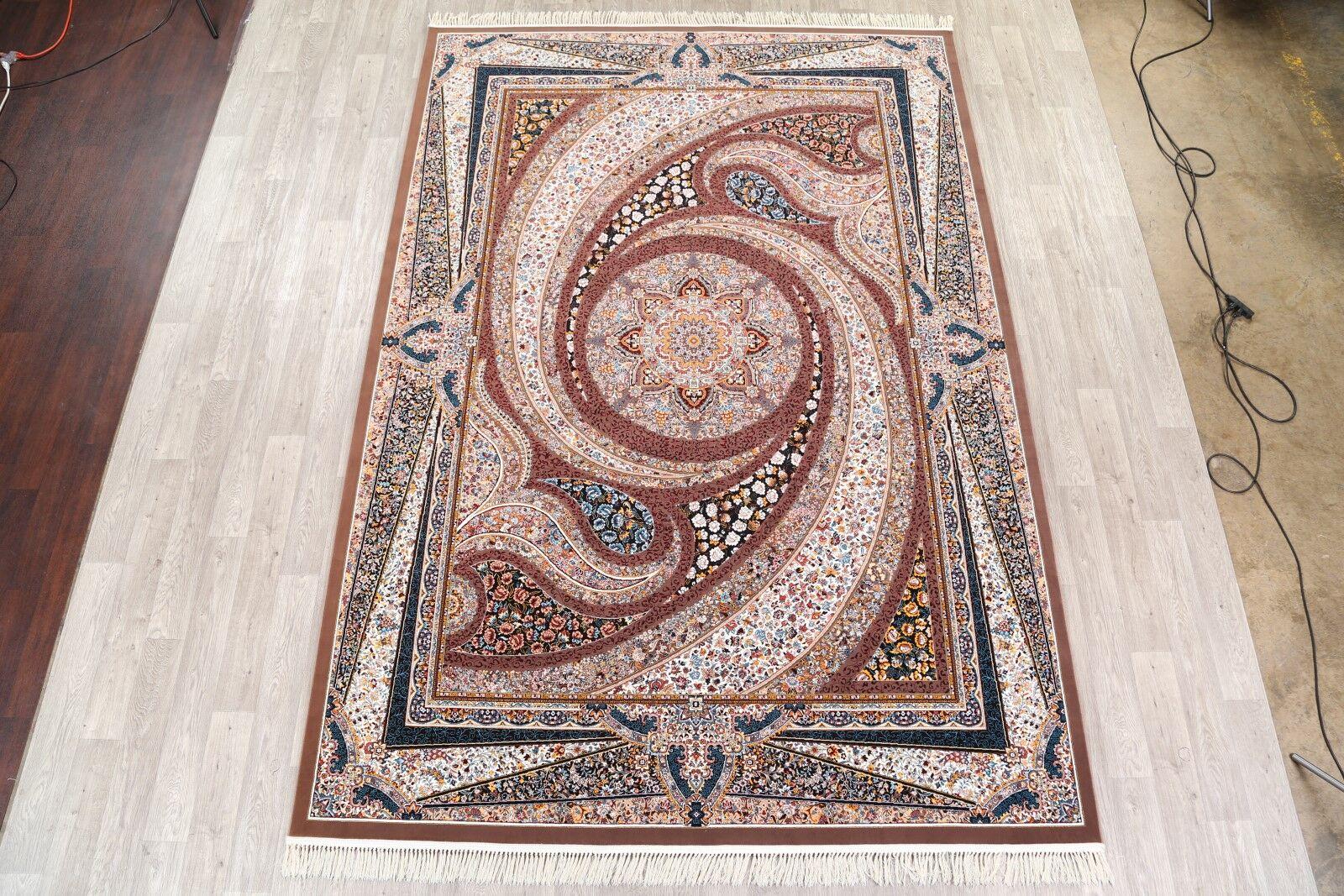 Mayne Soft Plush Geometric Tabriz Persian Brown/Ivory/Blue Area Rug
