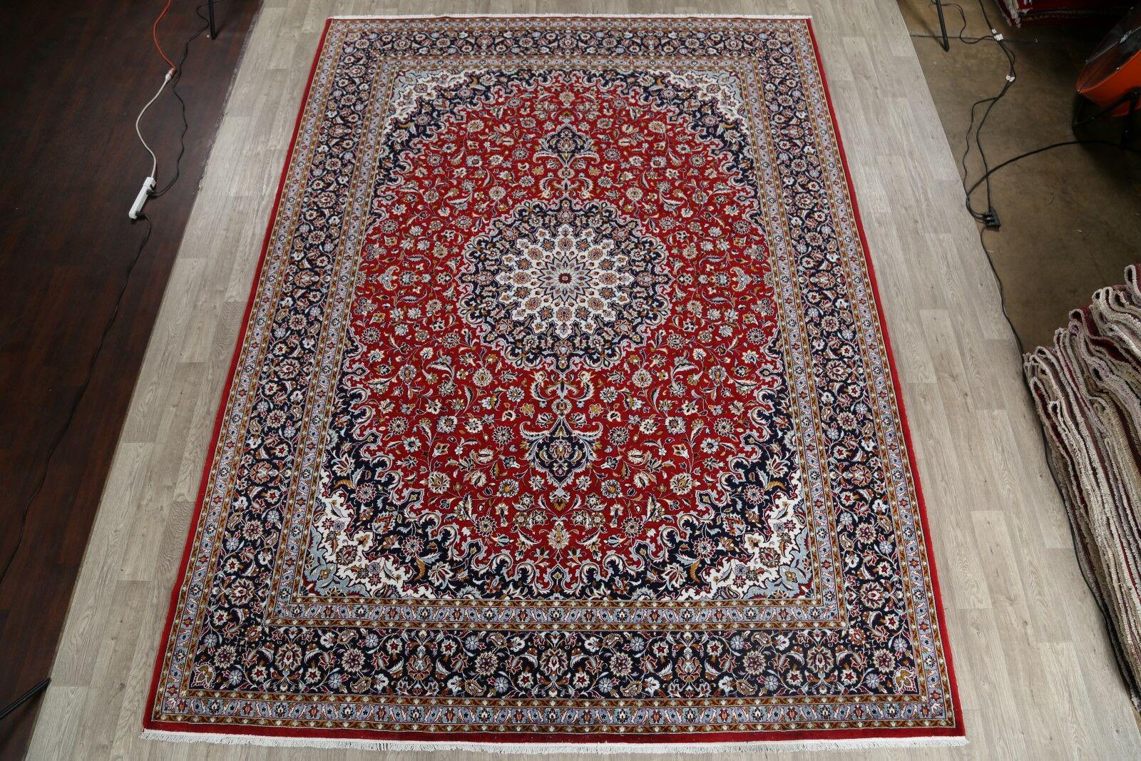 Noonan Soft Plush Floral Kerman Persian Navy Blue/Red/Beige Area Rug