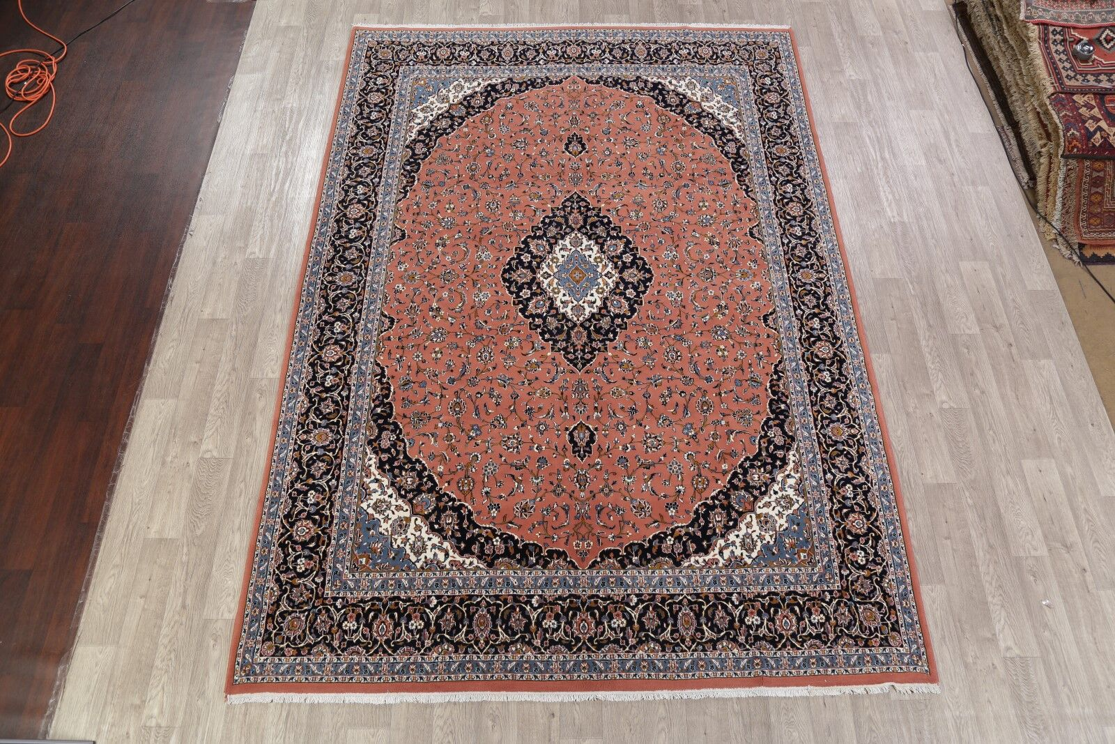 Soft Plush Floral Kashmar Persian Rust/Black Area Rug