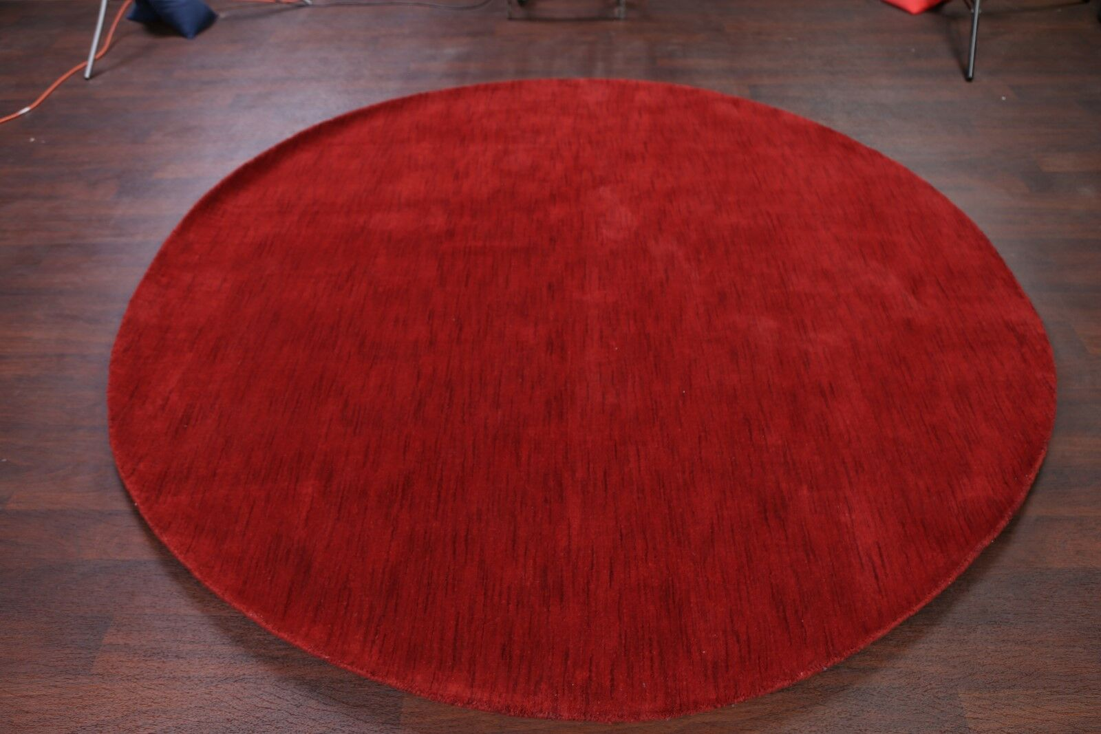 One-of-a-Kind Merritt Hand Knotted Red Round Modern Gabbeh Oriental Red/Burgundy Area Rug