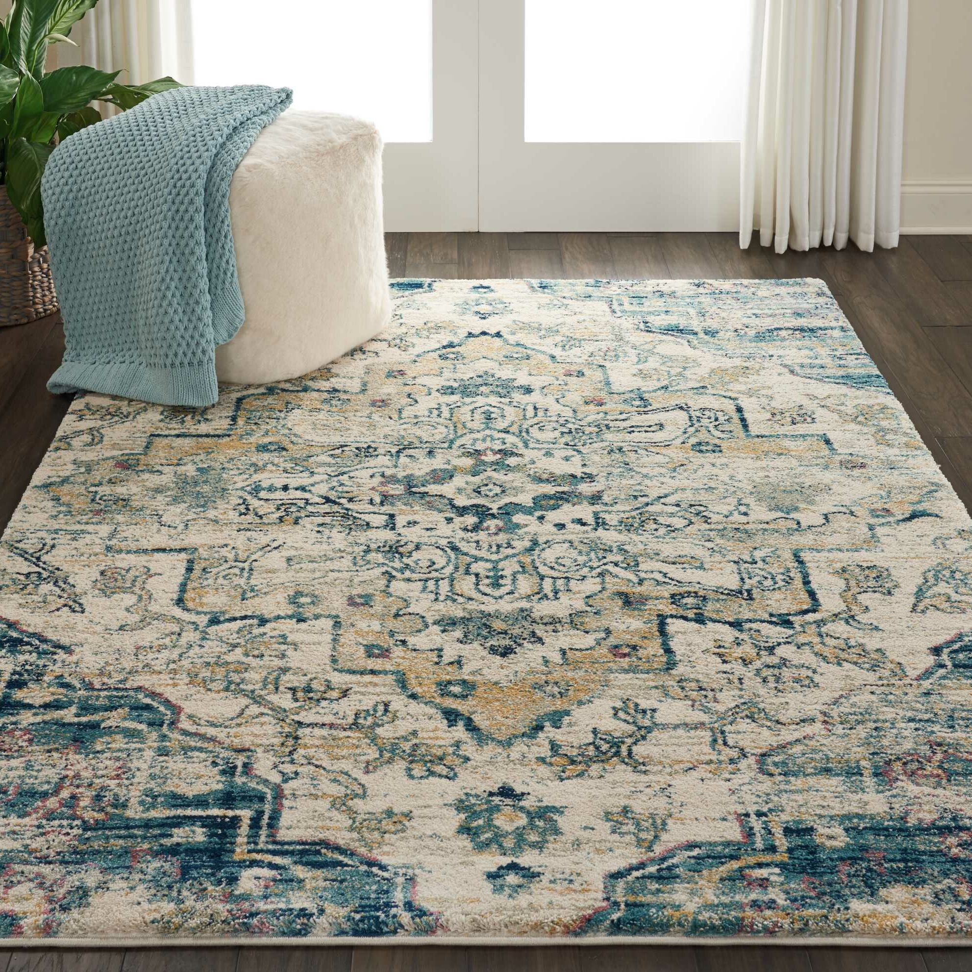 Bellock Oriental Beige/Blue Area Rug Rug Size: Rectangle 5'3