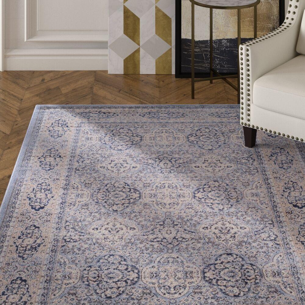 Laplaigne Blue / Ivory Area Rug Rug Size: Square 6'7