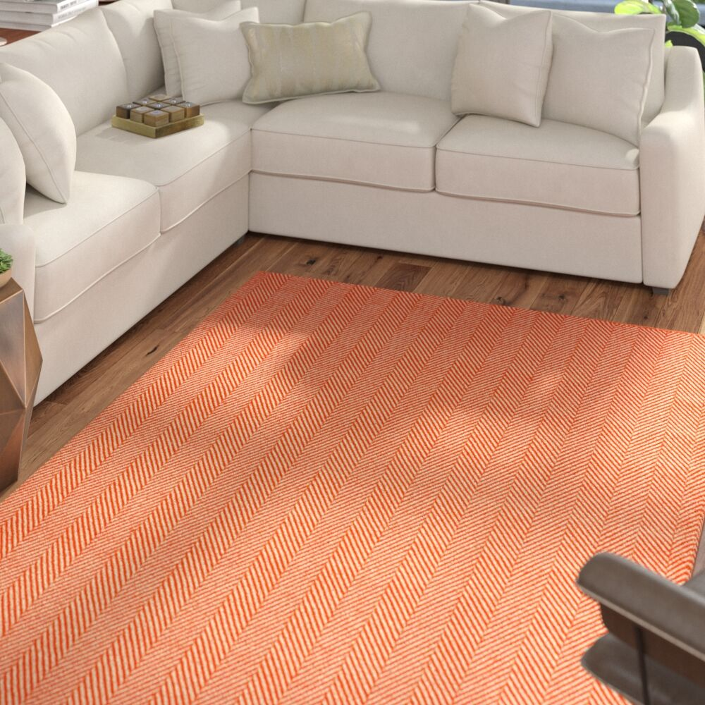 Nathanial Hand Woven Cotton Orange Area Rug Rug Size: Rectangle 6' x 9'