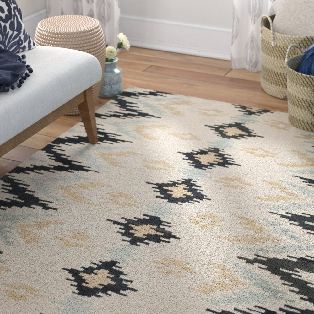 Kyoto Hand-Tufted Ivory/Dark Gray Area Rug Rug Size: Square 6'