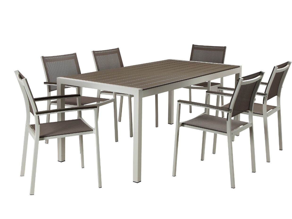 Lemons Anodized Aluminum Outdoor 7 Piece Dining Set Color: White/Gray