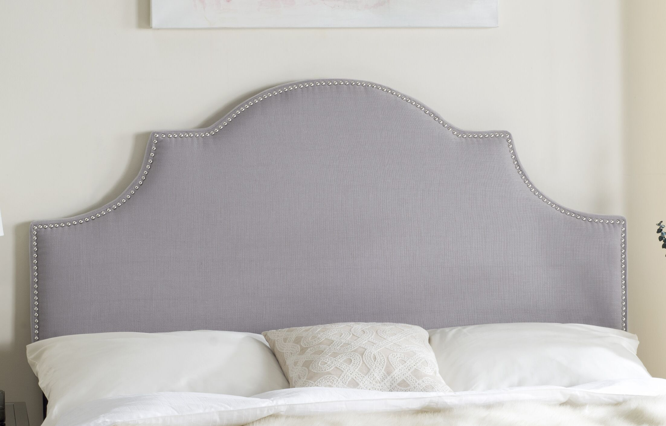 Caswell Upholstered Panel Headboard Color: Arctic Gray, Size: King, Upholstery: Polyester