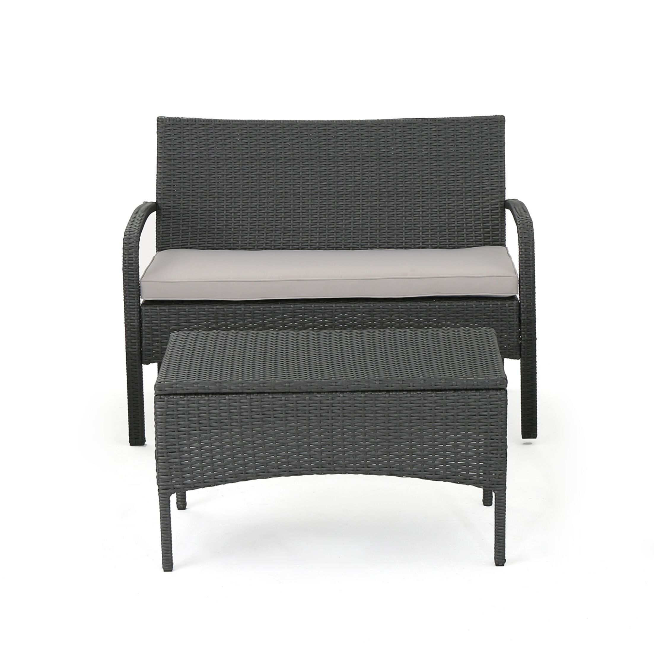 Deeanna Outdoor 2 Piece Rattan Sofa Seating Group with Cushions Frame Finish: Gray, Cushion Color: Silver