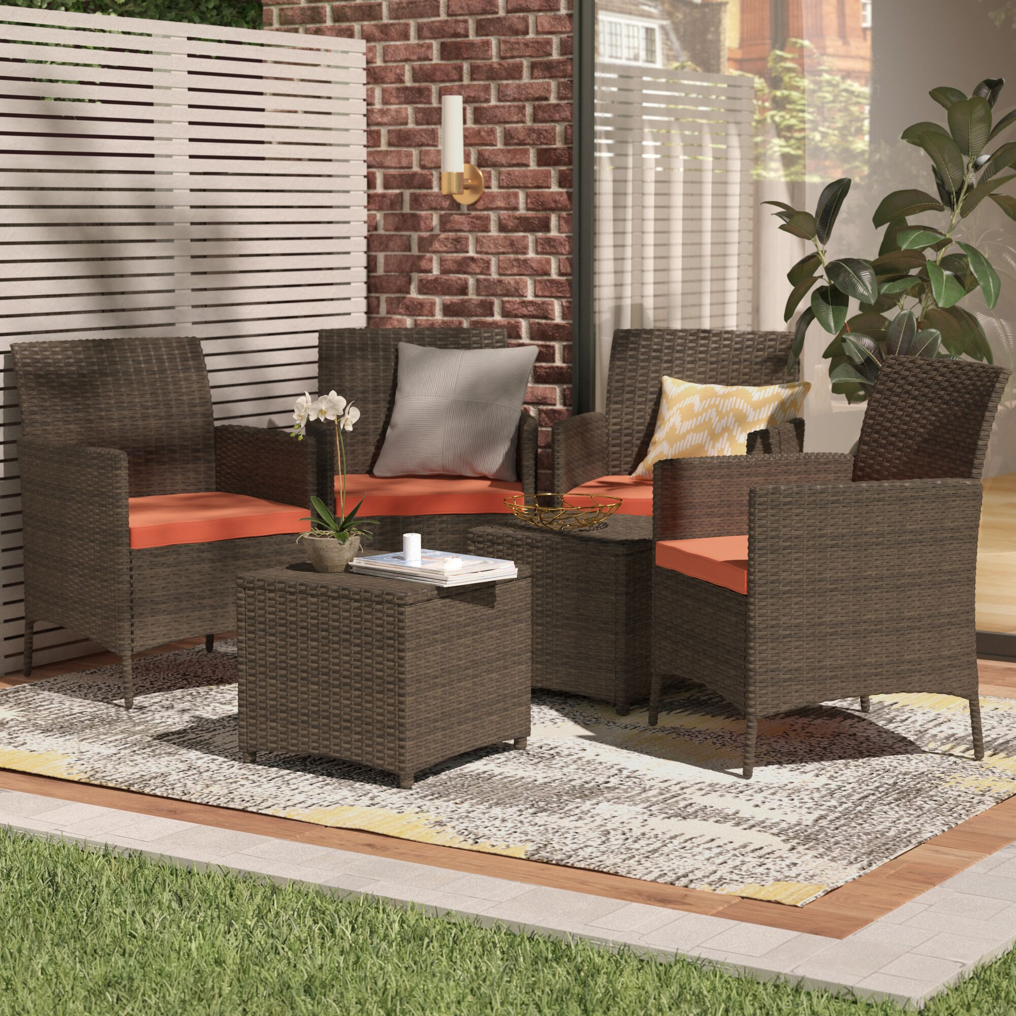 Auclair Wicker Patio 6 Piece Rattan Conversation Set with Cushions