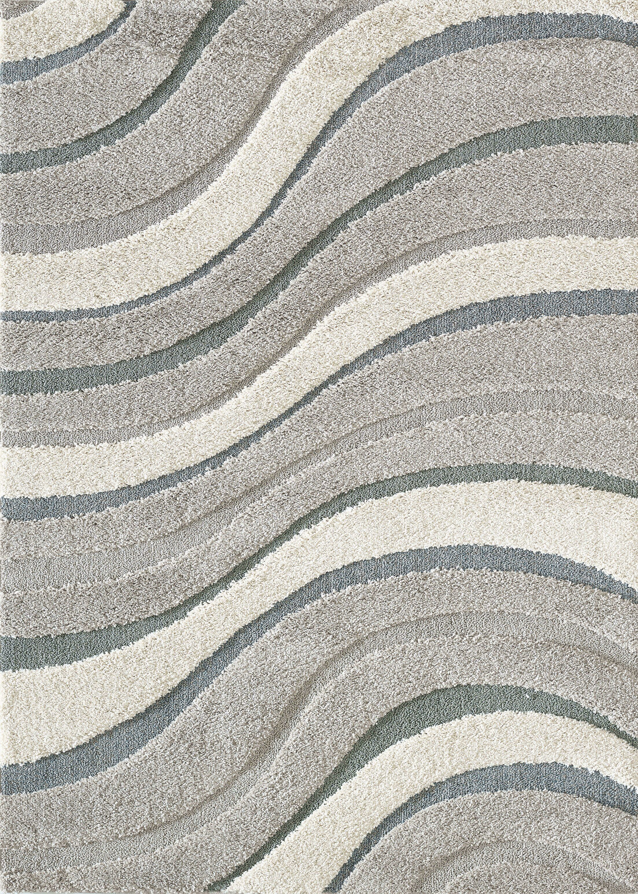 Kevin Waves Gray Area Rug Rug Size: Rectangle 7'10
