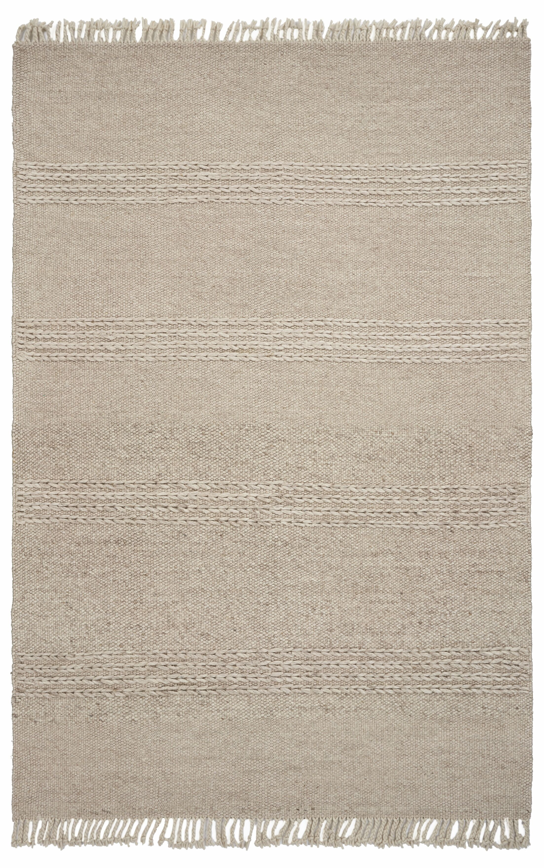 Hogan Cable Knit Hand-Woven Wool Beige Area Rug Rug Size: Rectangle 8'6