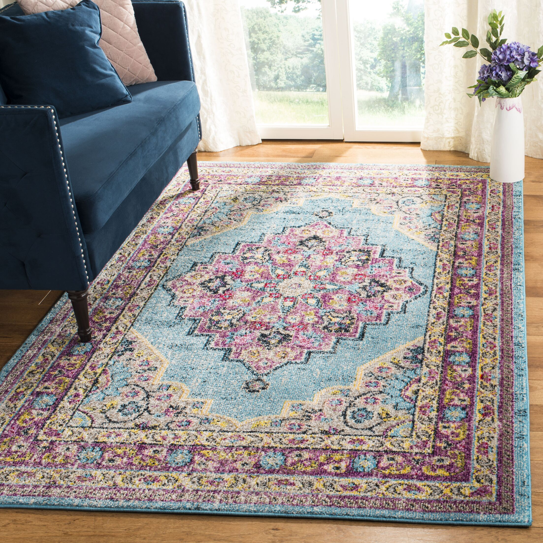 Grieve Aqua/Purple Area Rug Rug Size: Rectangle 9' x 12'