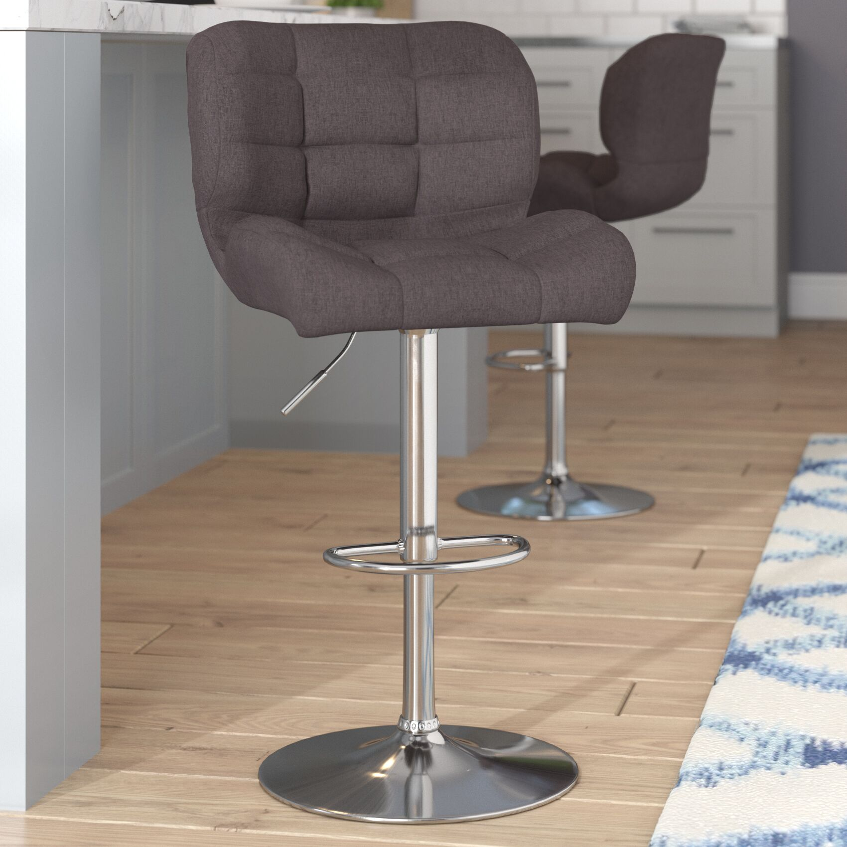 Hackbarth Adjustable Height Swivel Bar Stool Upholstery: Dark Gray